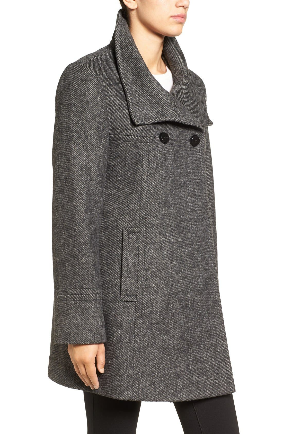 Double Breasted Swing Coat,                             Alternate thumbnail 3, color,                             Black/ Charcoal