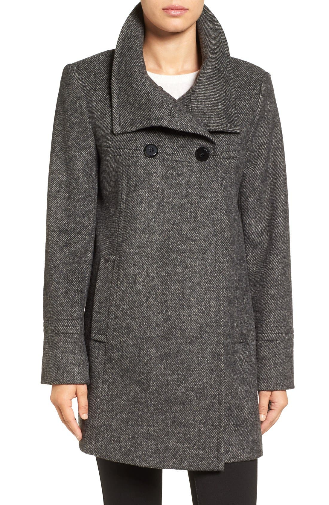 Double Breasted Swing Coat,                             Main thumbnail 1, color,                             Black/ Charcoal