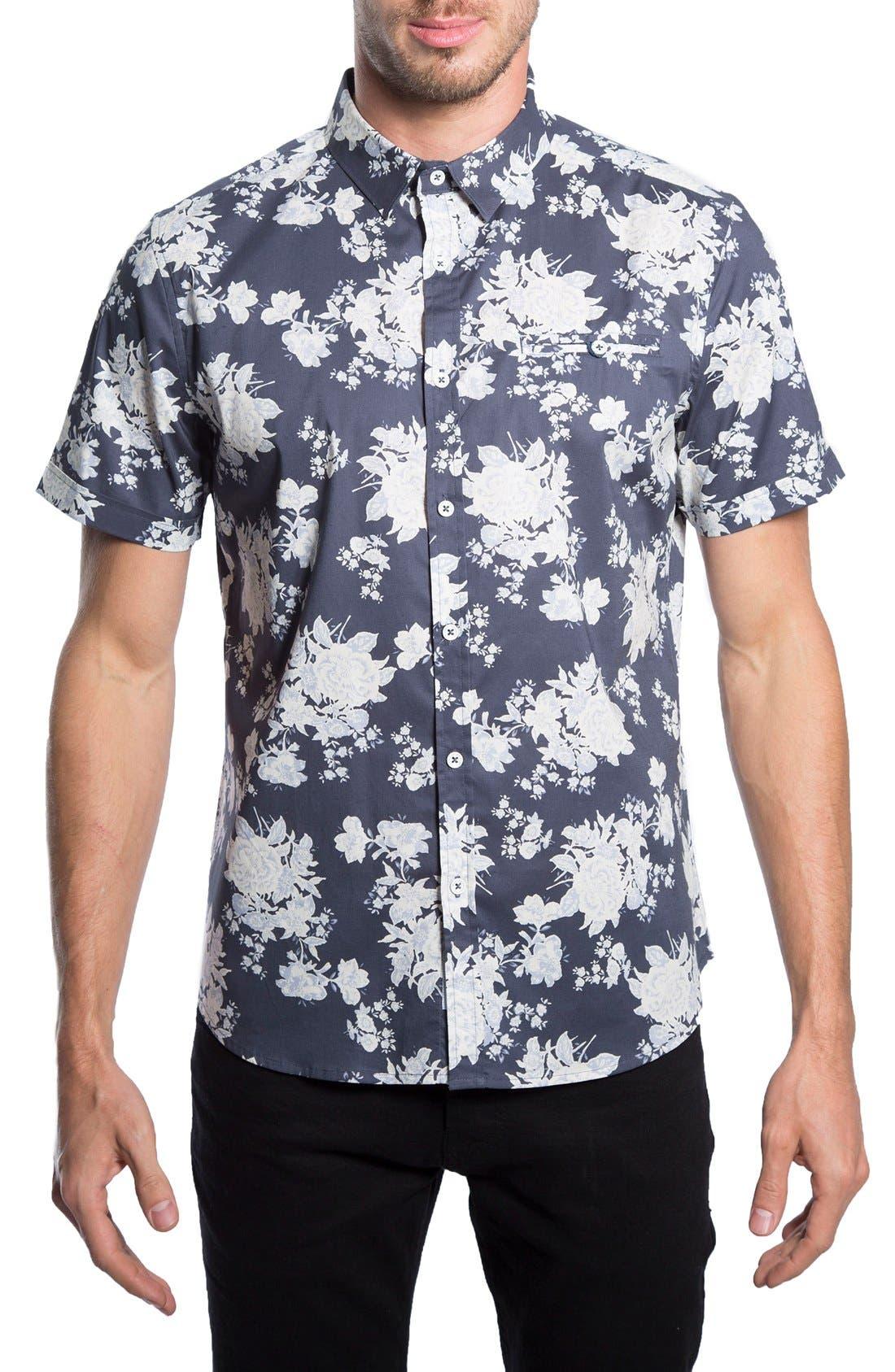 'Better Place' Trim Fit Floral Short Sleeve Woven Shirt,                             Main thumbnail 1, color,                             Navy