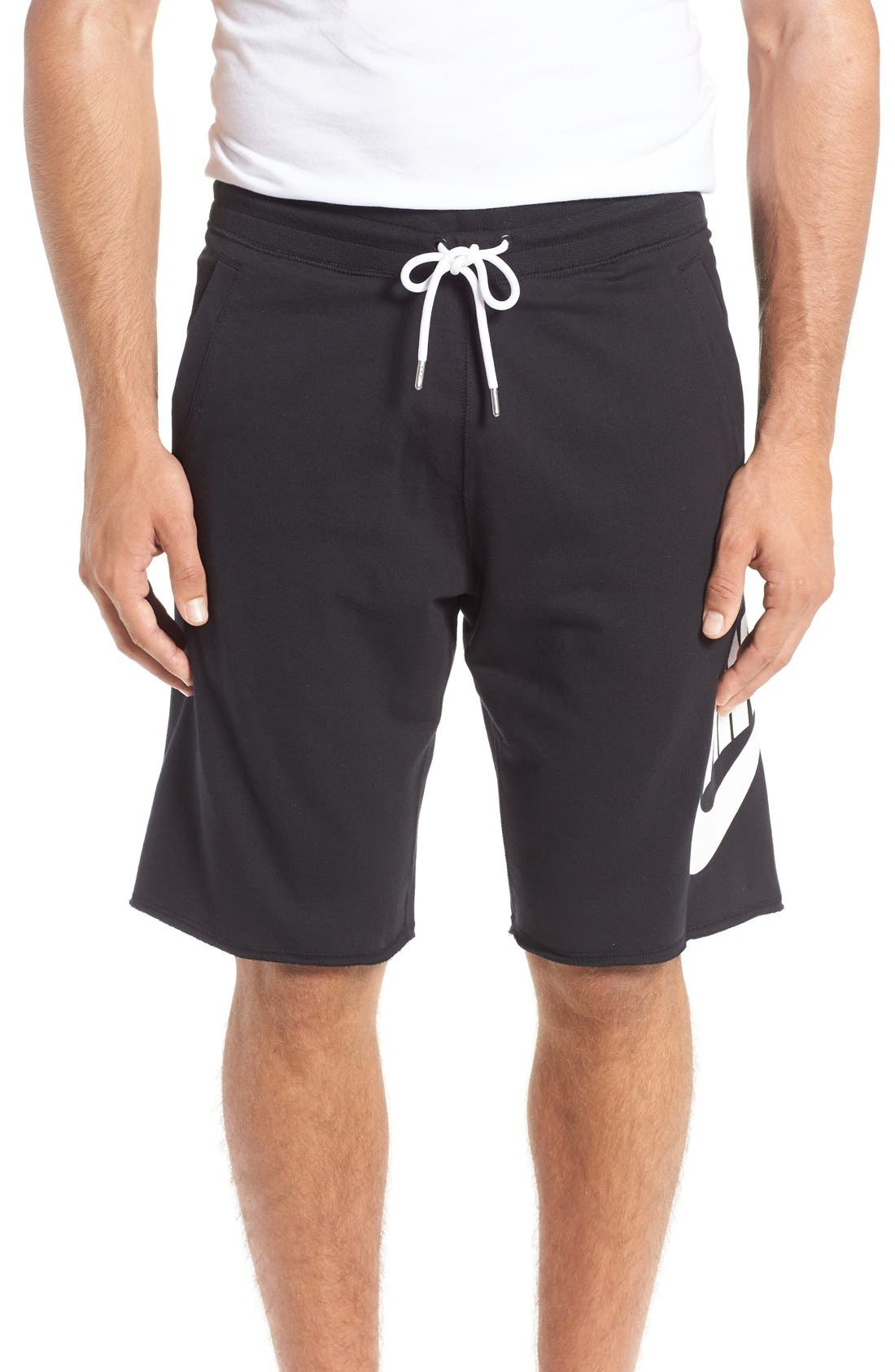 'NSW' Logo French Terry Shorts,                         Main,                         color, Black/ White