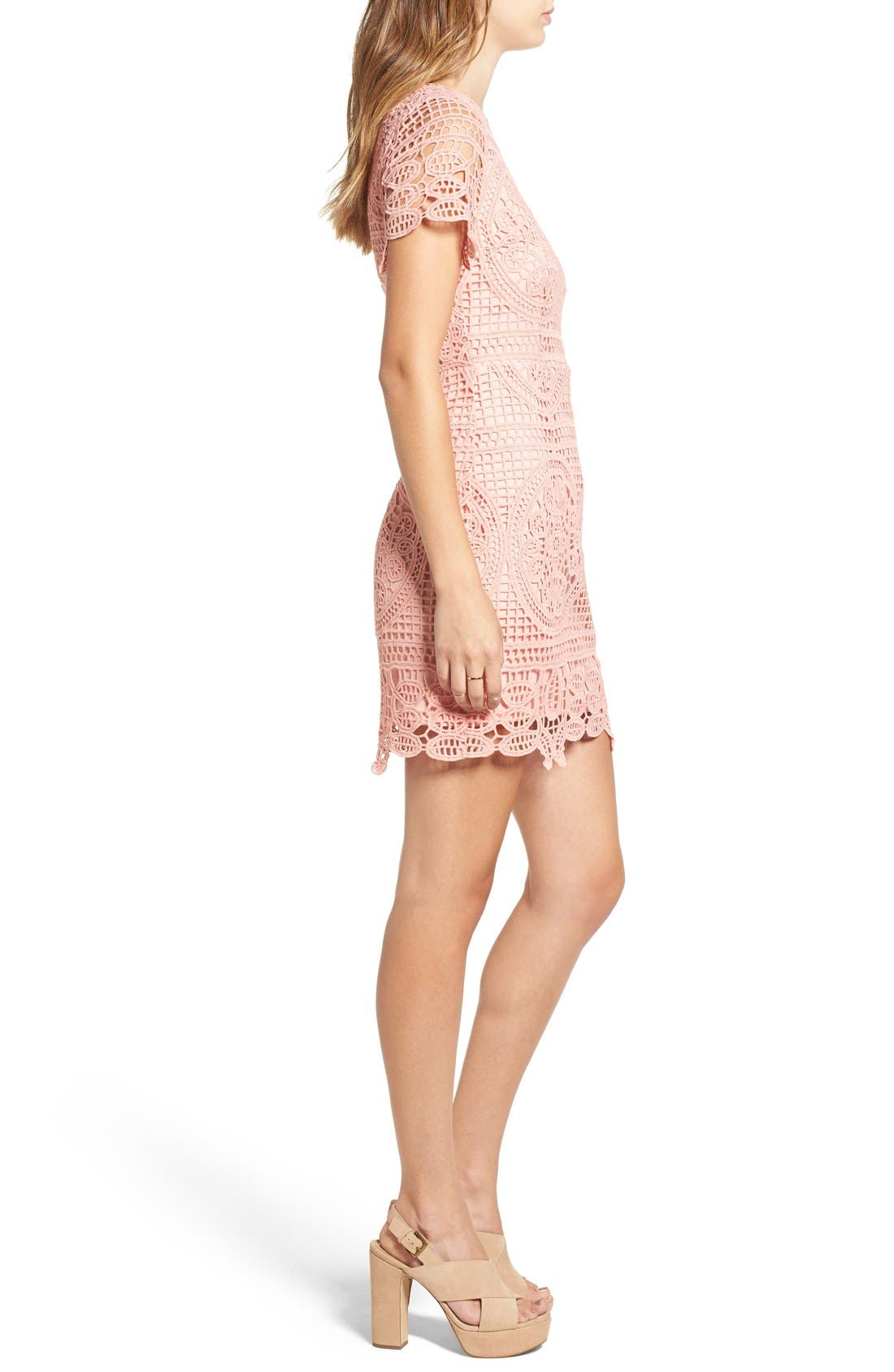 Alternate Image 3  - J.O.A. Crochet Lace Sheath Dress