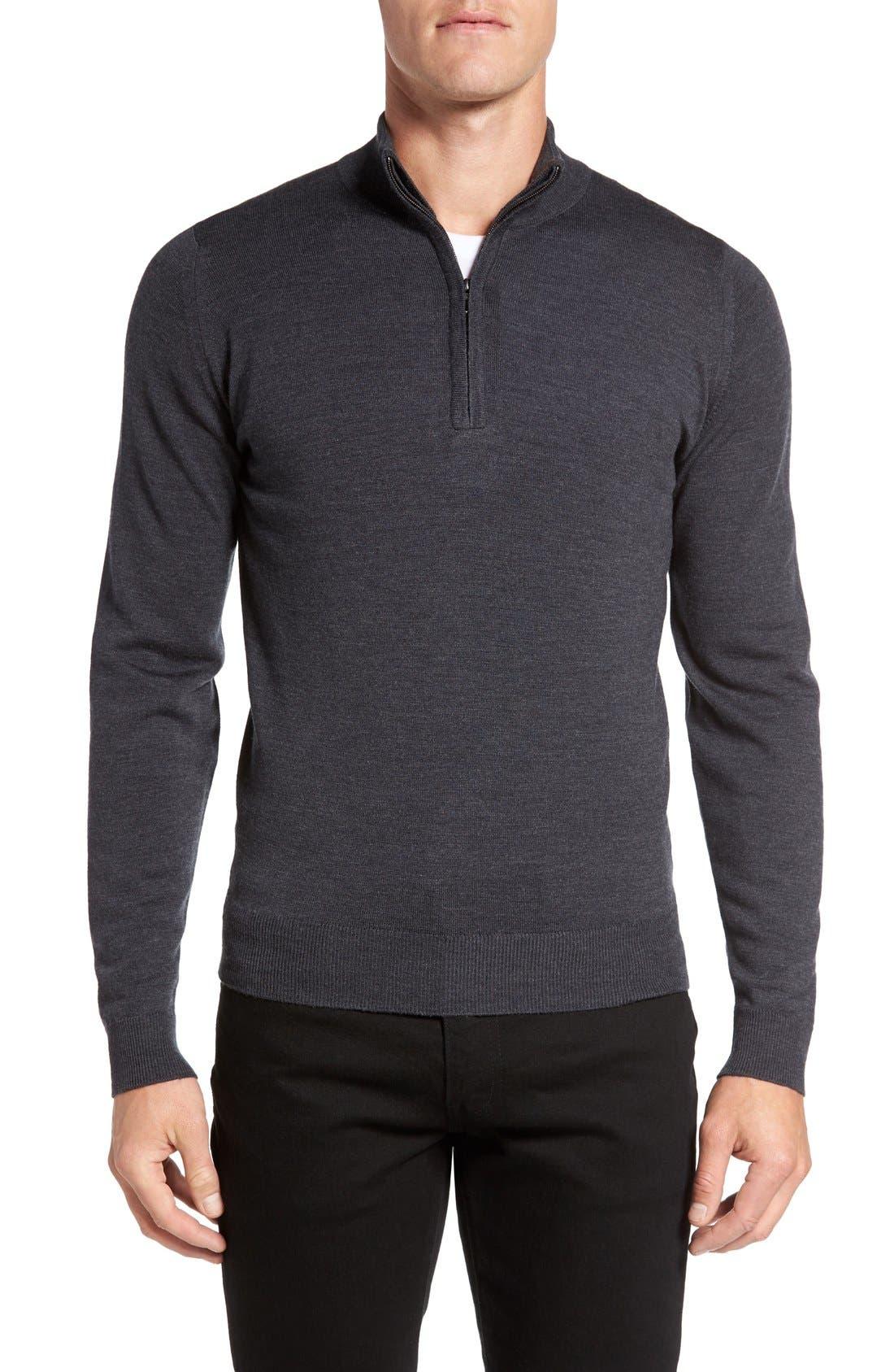 JOHN SMEDLEY Tapton Quarter Zip Merino Wool Sweater