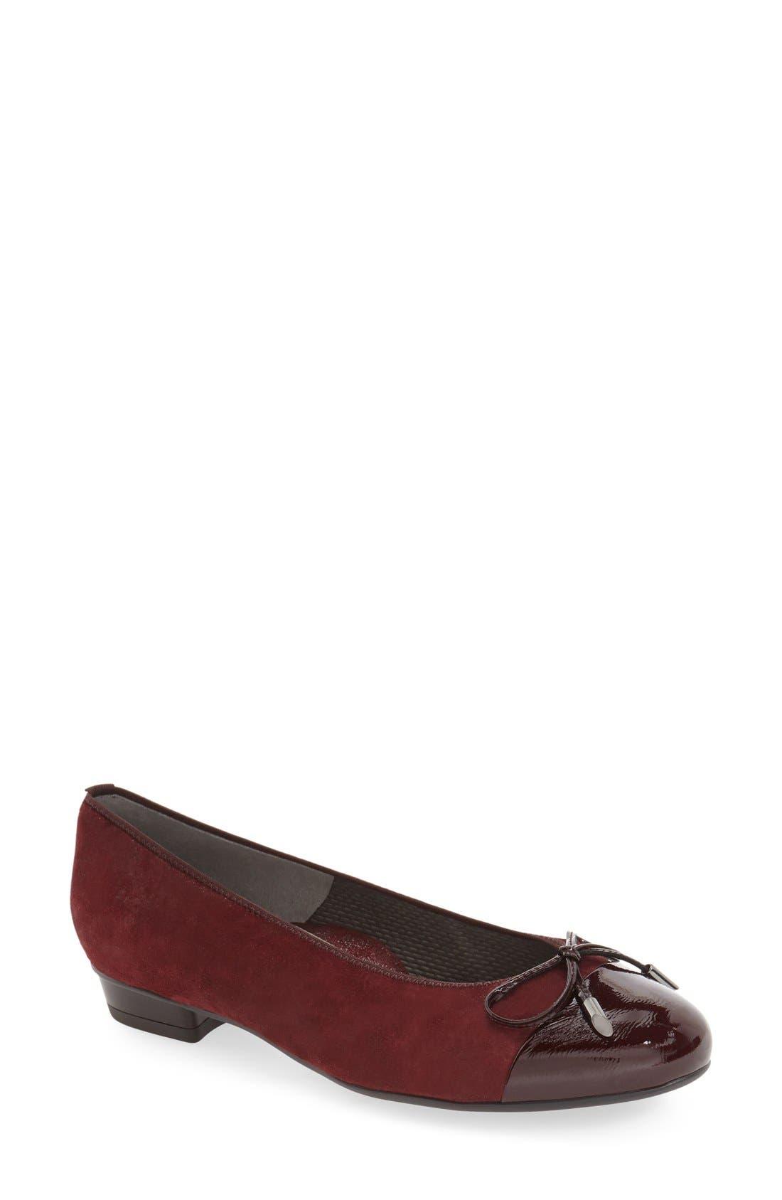'Betty' Cap Toe Flat,                             Main thumbnail 1, color,                             Burgundy Patent Leather