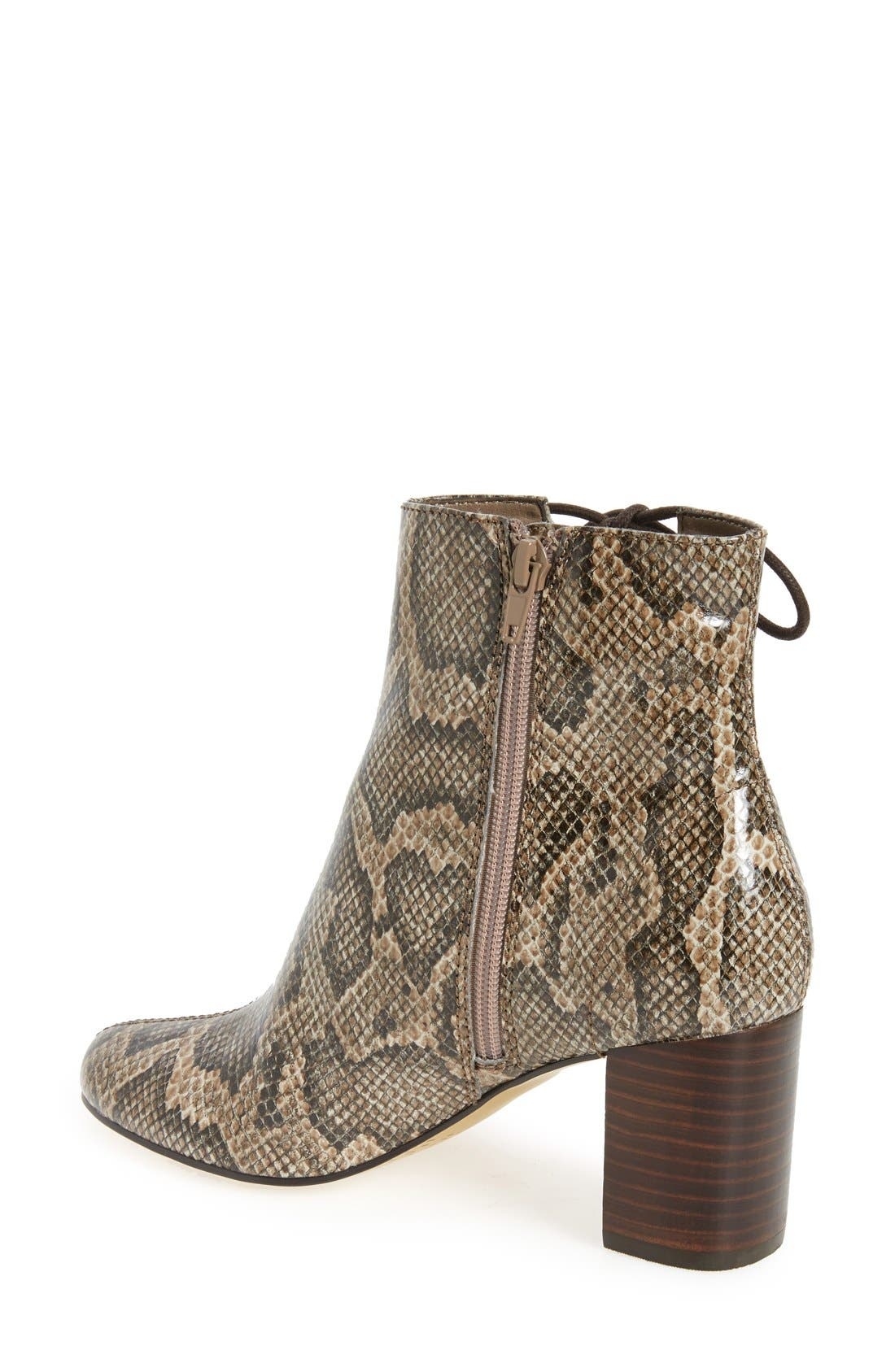 'Kirby' Bootie,                             Alternate thumbnail 2, color,                             Natural Snake Print Leather
