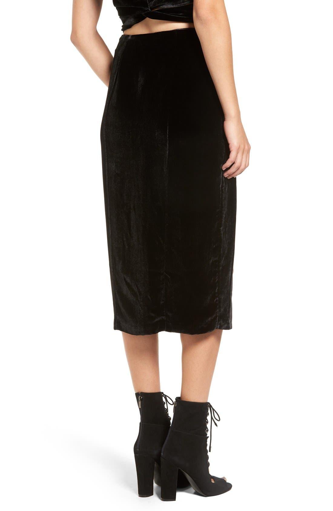 Alternate Image 2  - KENDALL + KYLIE Velvet Midi Skirt