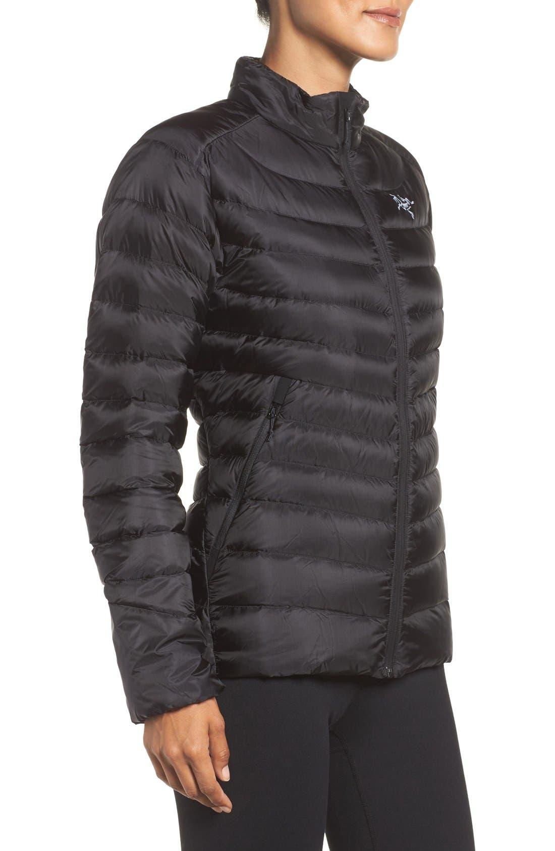 Cerium Water Resistant Down Jacket,                             Alternate thumbnail 3, color,                             Black