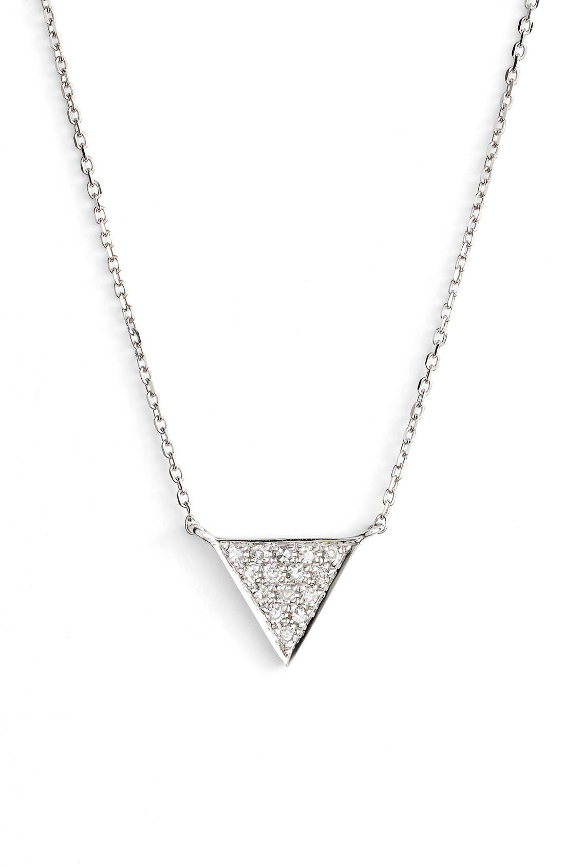 'Emily Sarah' Diamond Triangle Pendant Necklace,                             Main thumbnail 1, color,                             White Gold