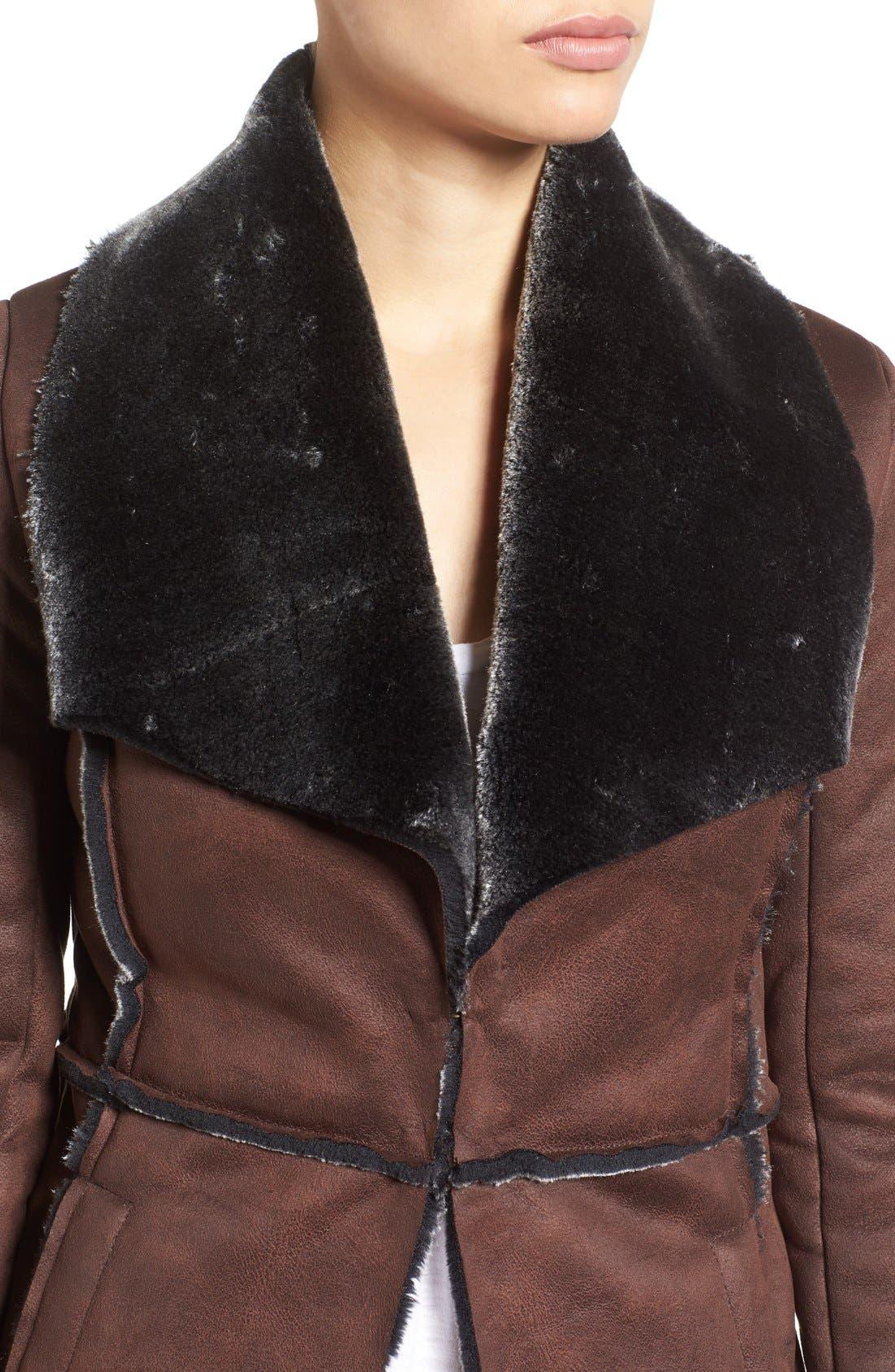 'Abigail' Faux Shearling Coat,                             Alternate thumbnail 4, color,                             Brown