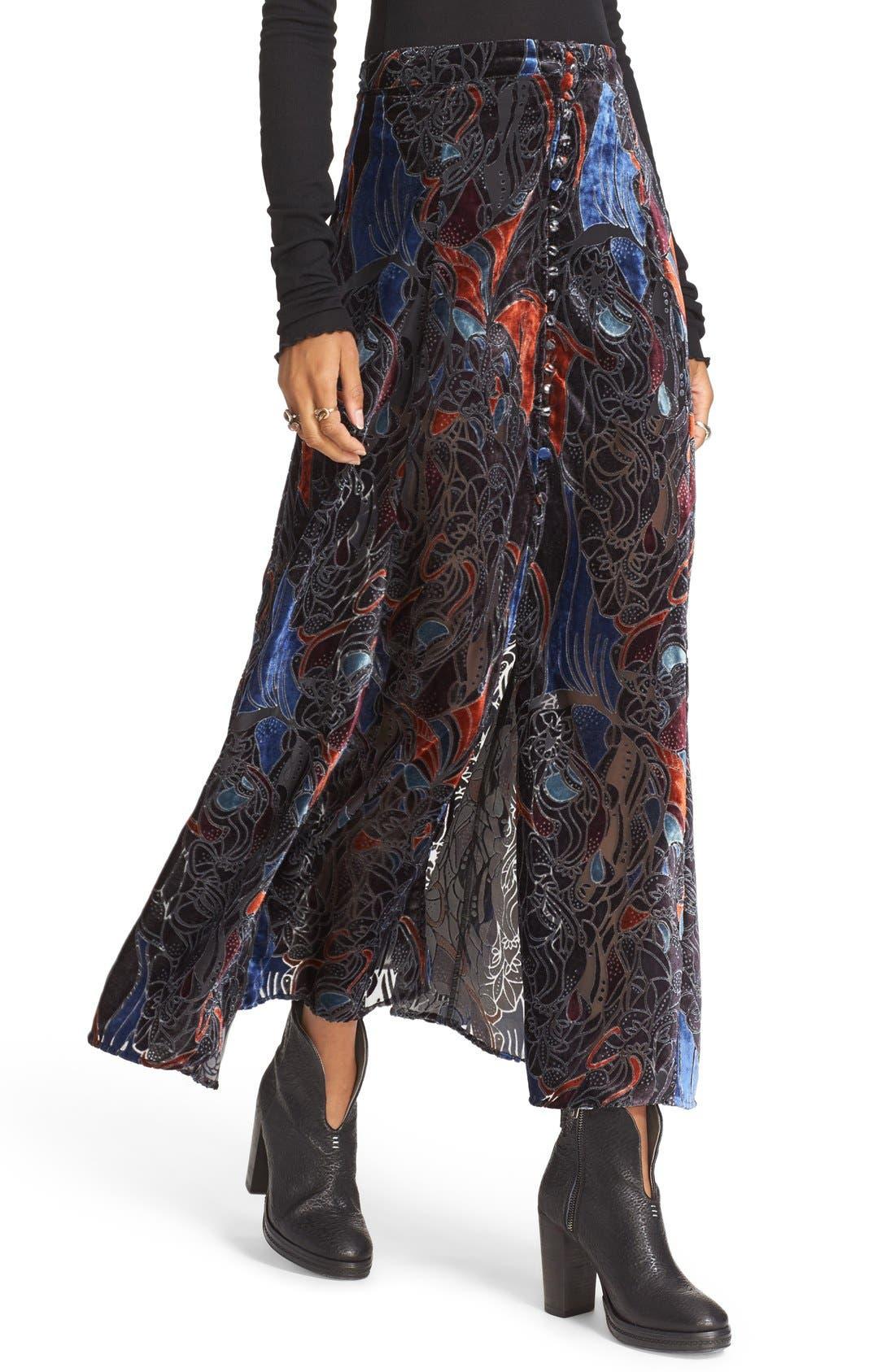 Alternate Image 4  - Free People Velvet Burnout Maxi Skirt