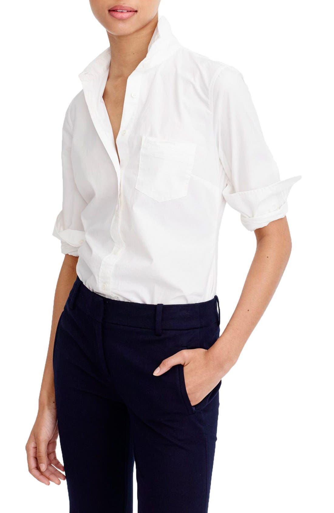 J.Crew New Perfect Cotton Poplin Shirt,                         Main,                         color, White
