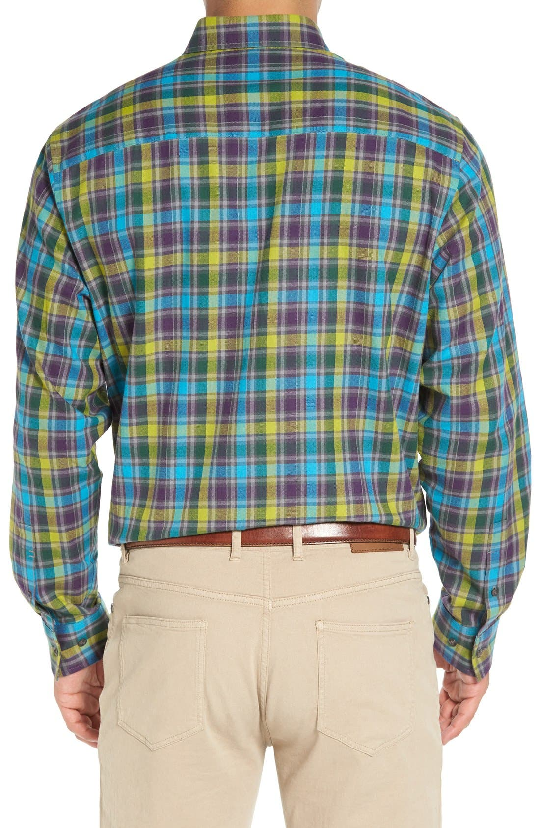 Alternate Image 2  - Cutter & Buck 'Timber' Plaid Cotton Twill Sport Shirt (Big & Tall)