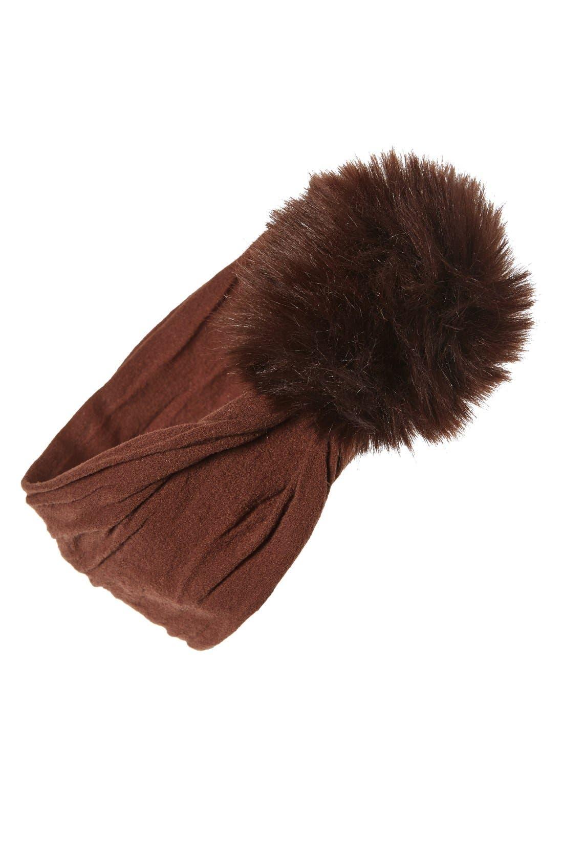 Alternate Image 1 Selected - Baby Bling Faux Fur Pompom Headband (Baby Girls)