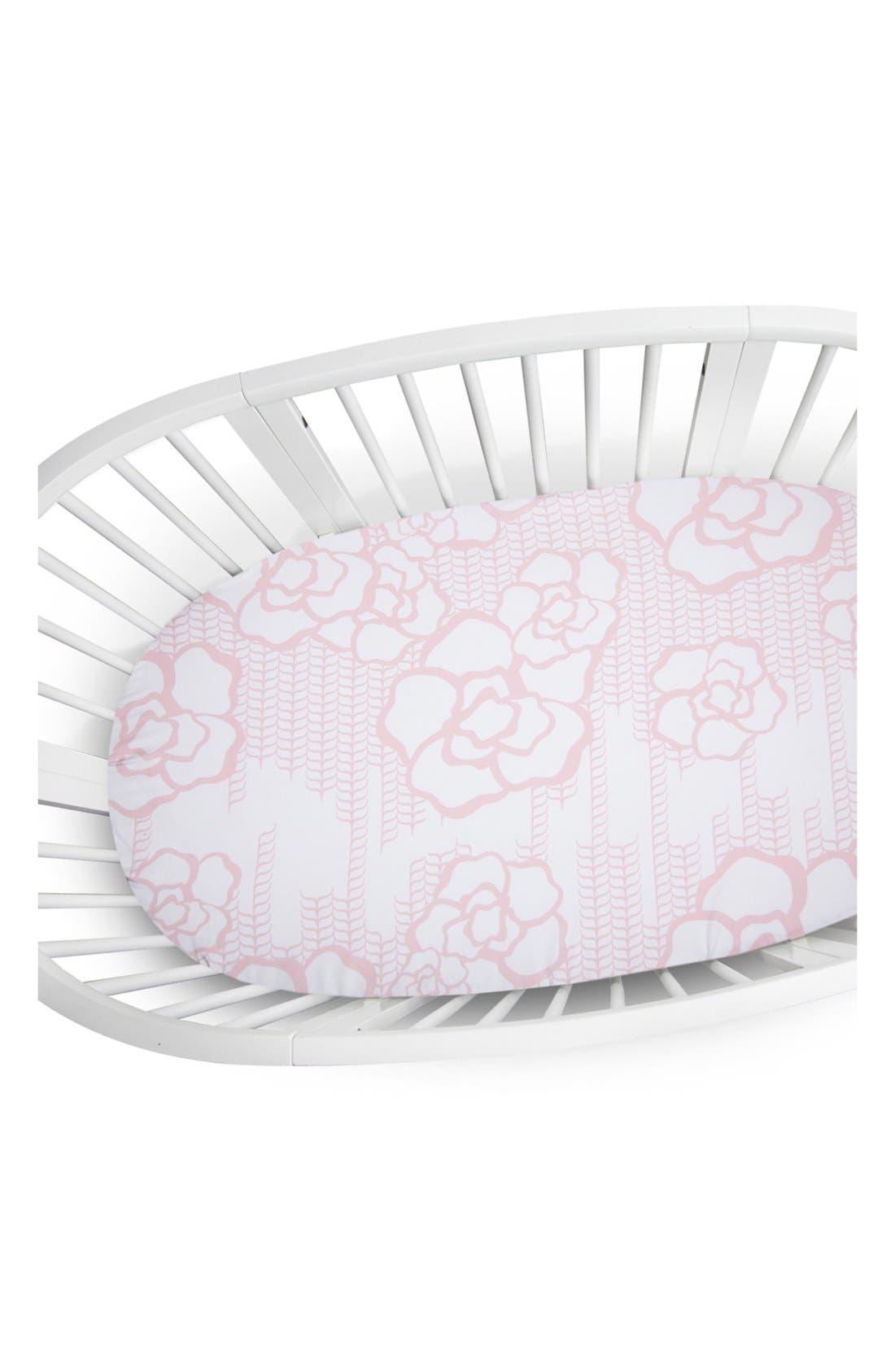300 Thread Count Crib Sheet,                             Main thumbnail 1, color,                             Blush/ White