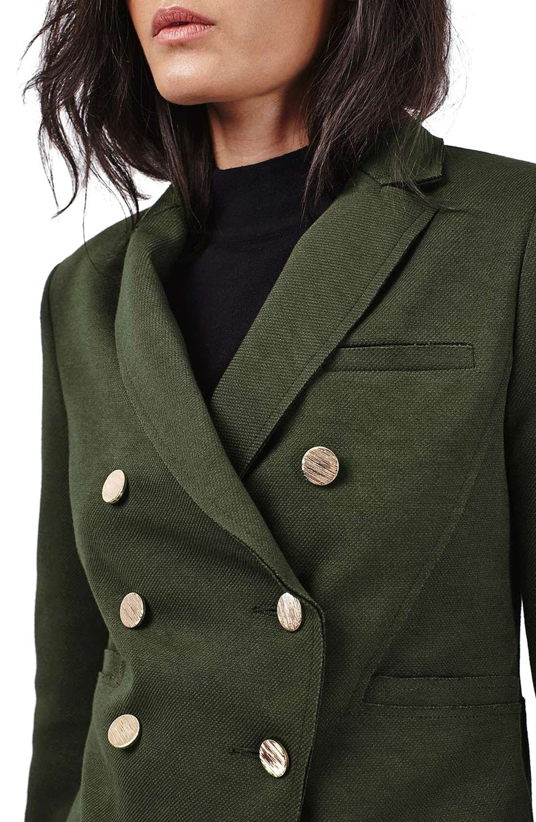 Gold Button Double Breasted Blazer,                             Alternate thumbnail 5, color,                             Green