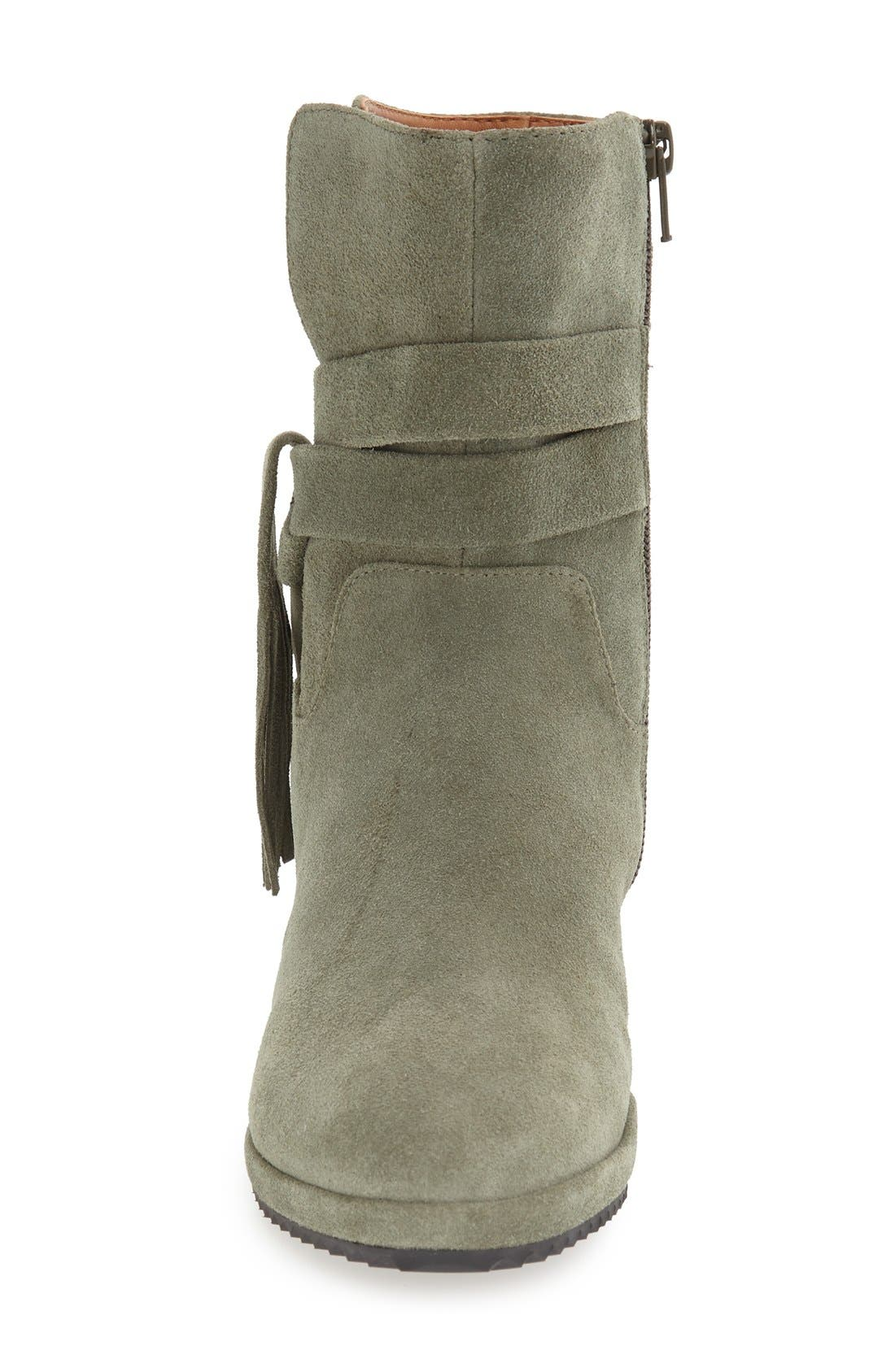 'Bernyce' Boot,                             Alternate thumbnail 3, color,                             Olive Suede Leather