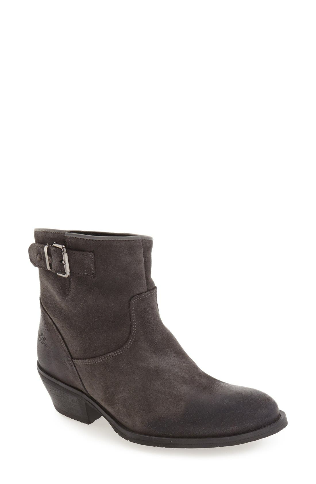 'Ramona' Waterproof Bootie,                             Main thumbnail 1, color,                             Grey Oil Suede
