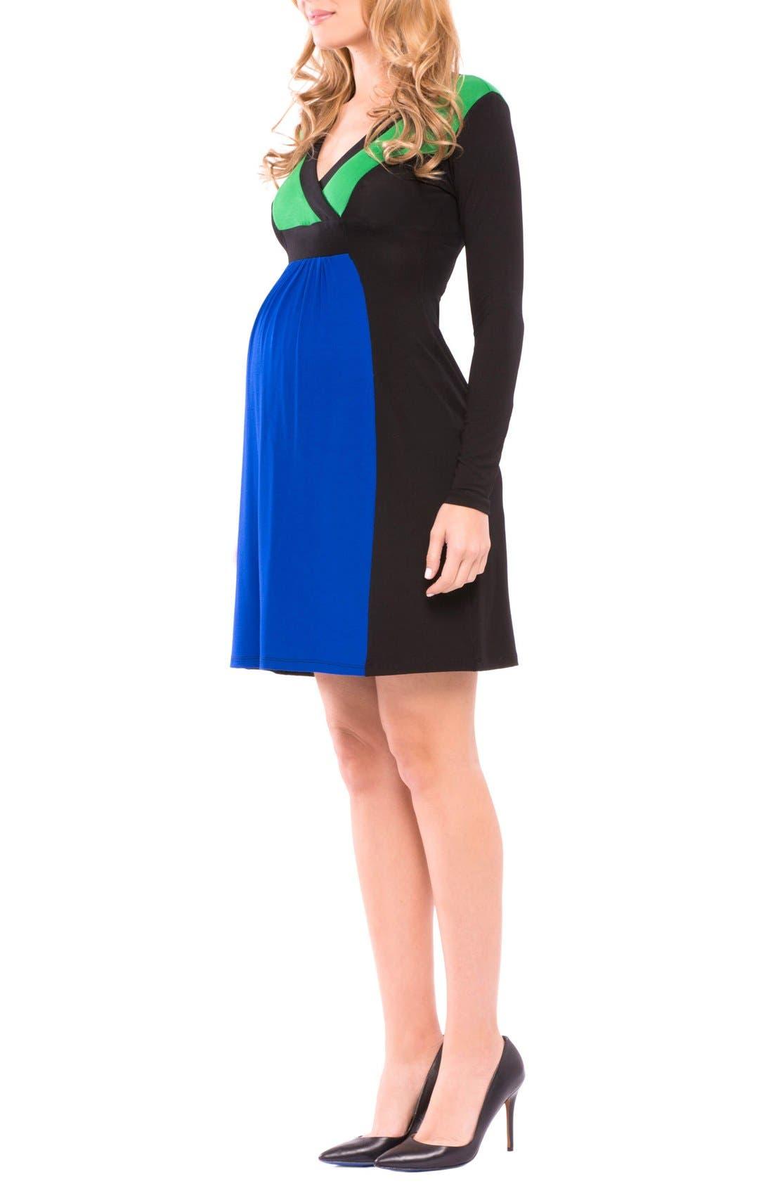 Margaret Maternity Dress,                             Alternate thumbnail 2, color,                             True Blue/ Grey/ Black