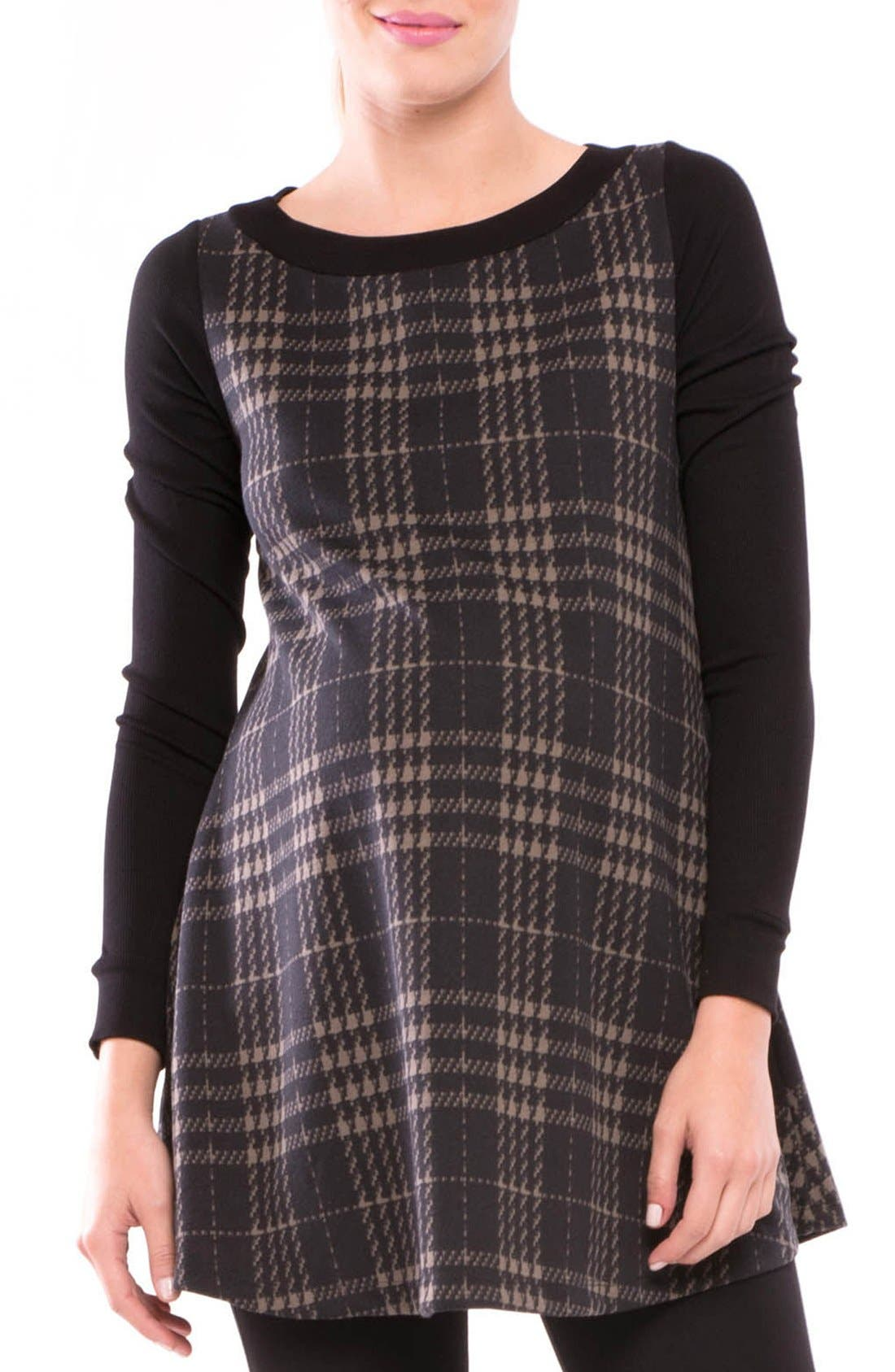 Alternate Image 1 Selected - Olian Macy Plaid Maternity Tunic Top