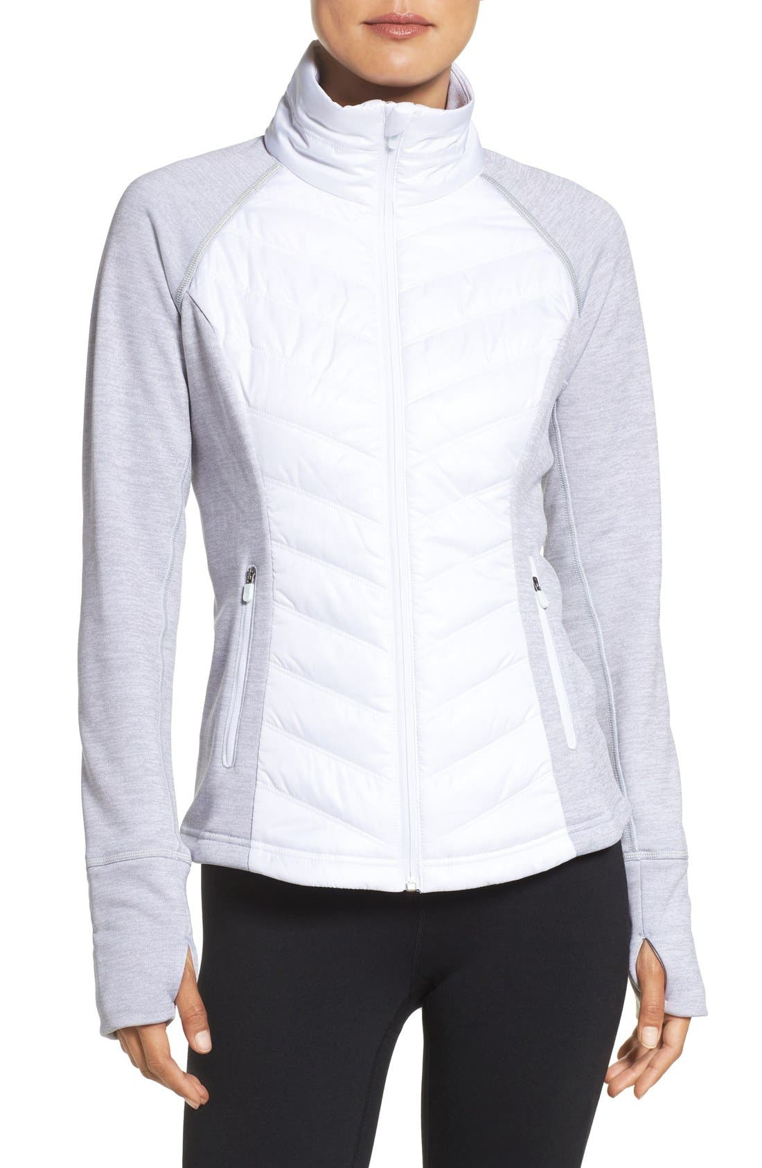 Zelfusion Reflective Quilted Jacket,                         Main,                         color, White Snow