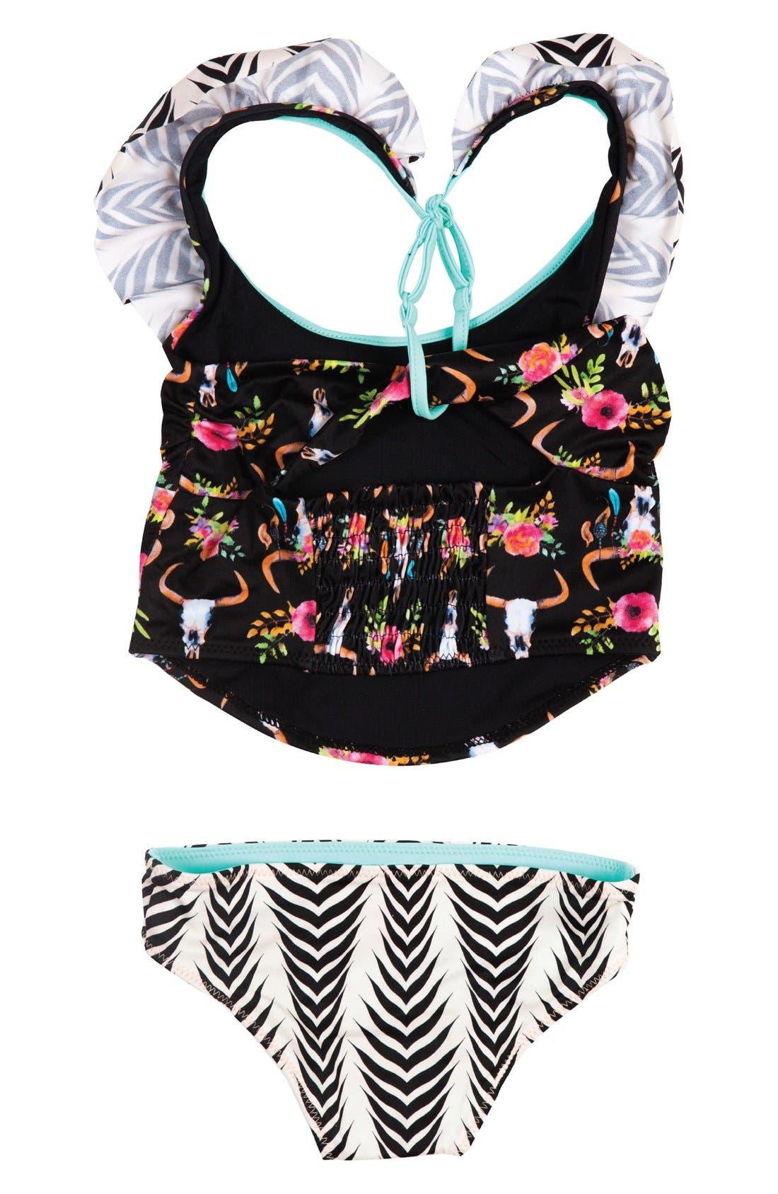 Dreamcatcher Two-Piece Tankini Swimsuit,                             Alternate thumbnail 4, color,                             Black