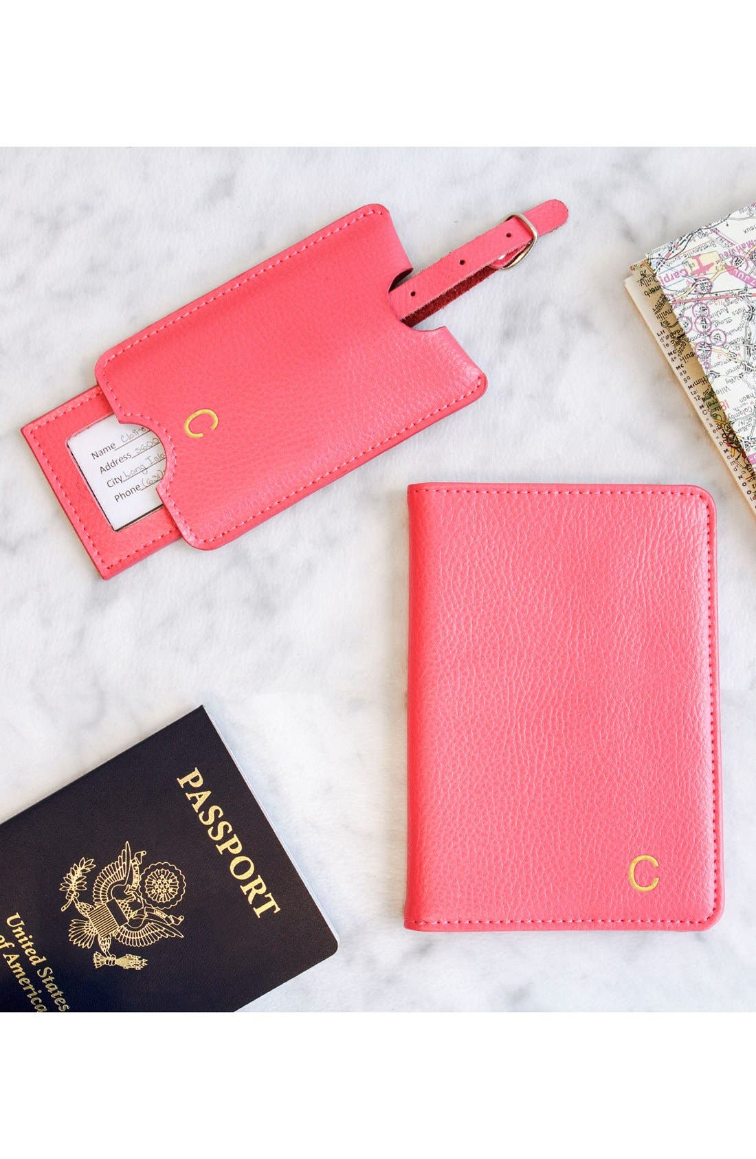 Alternate Image 4  - Cathy's Concepts Monogram Passport Case & Luggage Tag
