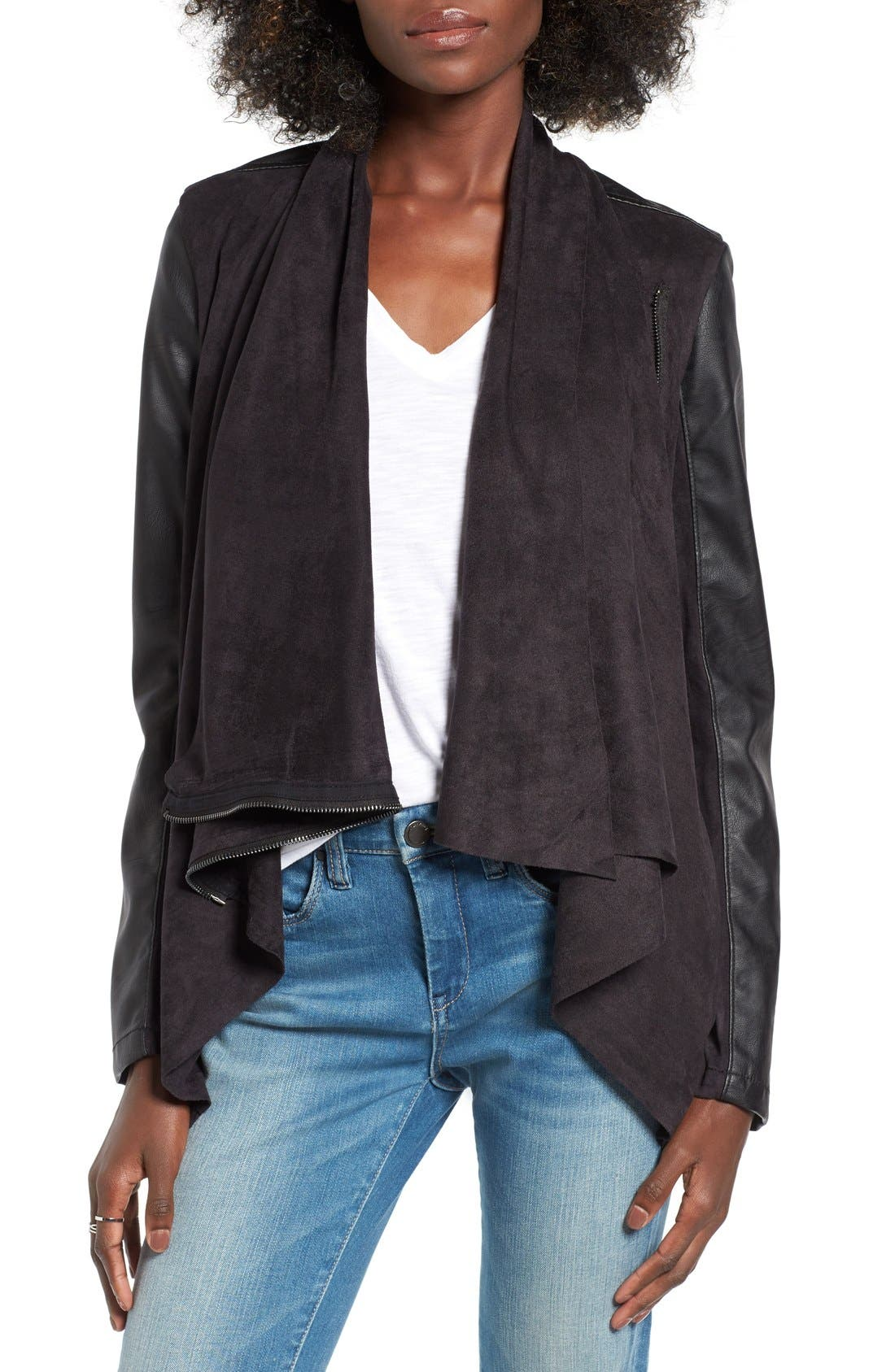 Mixed Media Faux Leather Drape Front Jacket,                         Main,                         color, Whatever It Takes