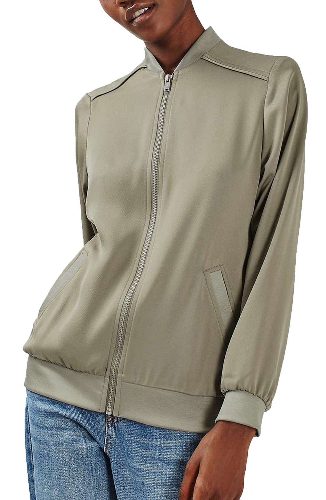 Satin Bomber Jacket,                         Main,                         color, Pale Green
