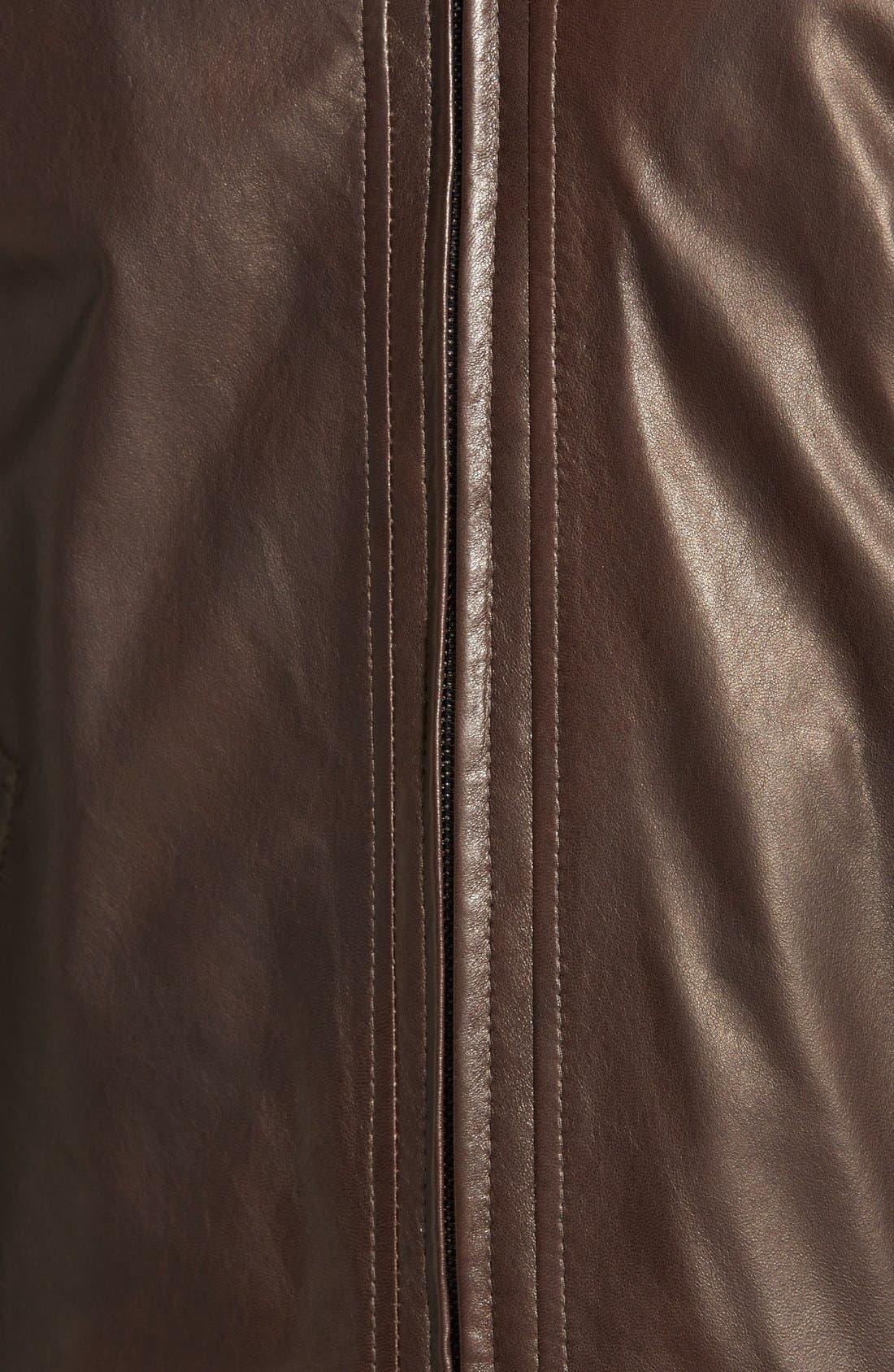 Lambskin Leather Jacket,                             Alternate thumbnail 5, color,                             Coffee