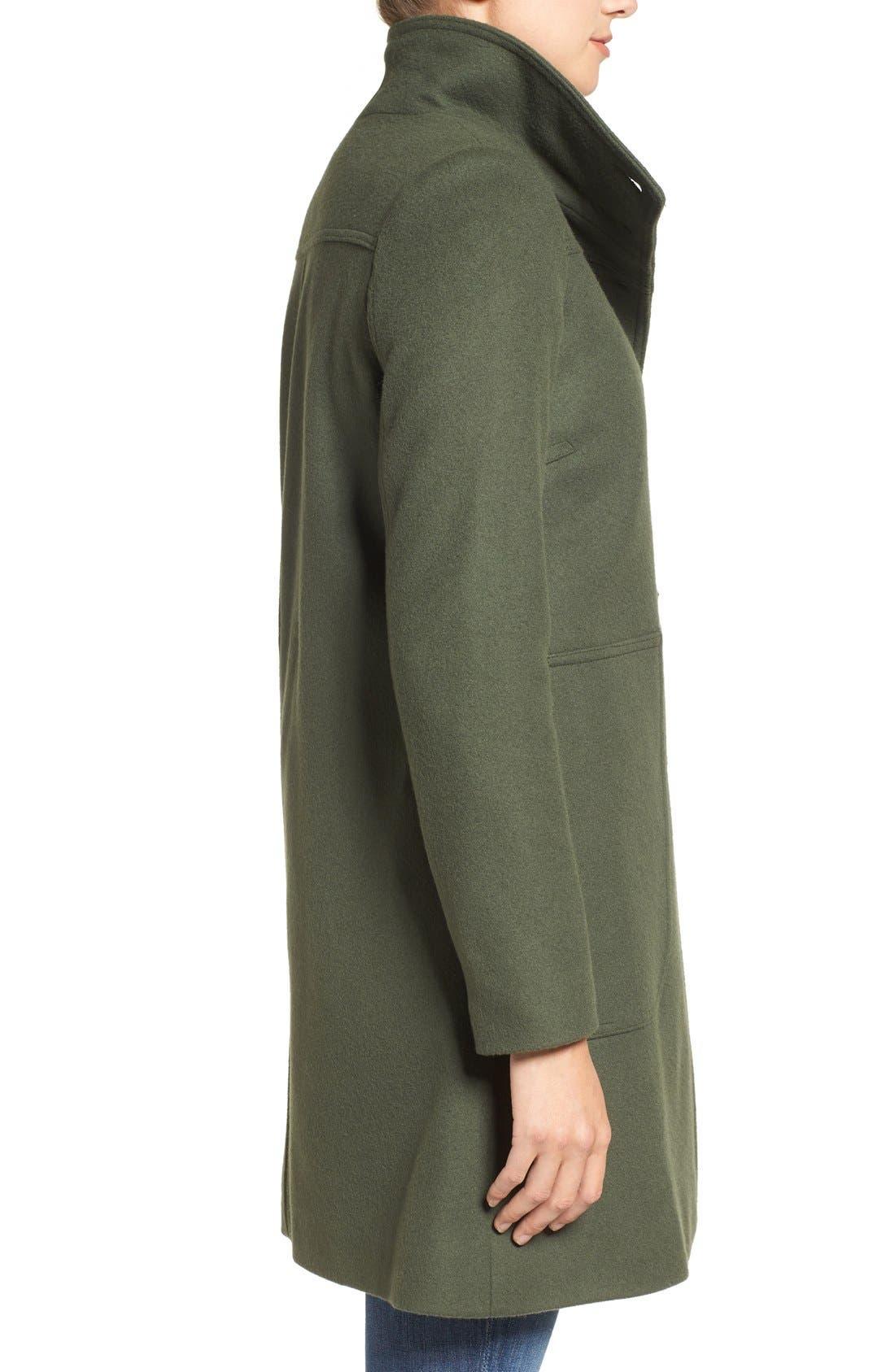 Alternate Image 4  - Kristen Blake Funnel Neck Wool Blend Coat  (Regular & Petite)