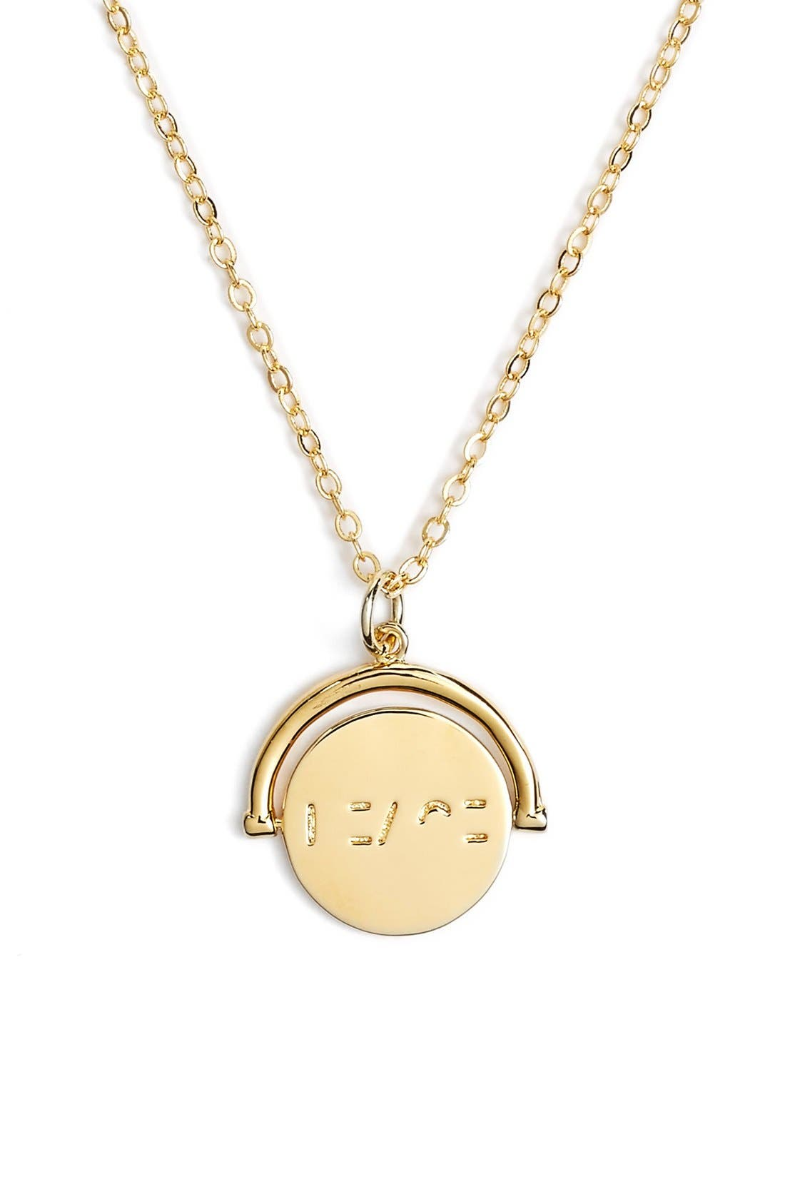Love Love Code Charm Necklace,                         Main,                         color, Peace/ Gold