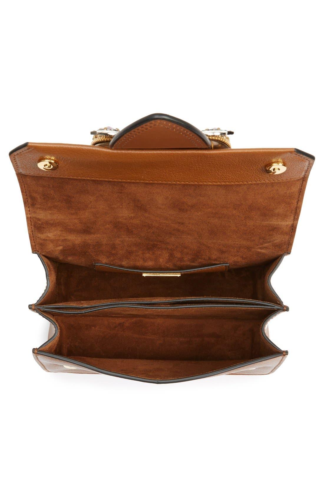 'Small Madras' Crystal Embellished Leather Shoulder Bag,                             Alternate thumbnail 4, color,                             Brandy