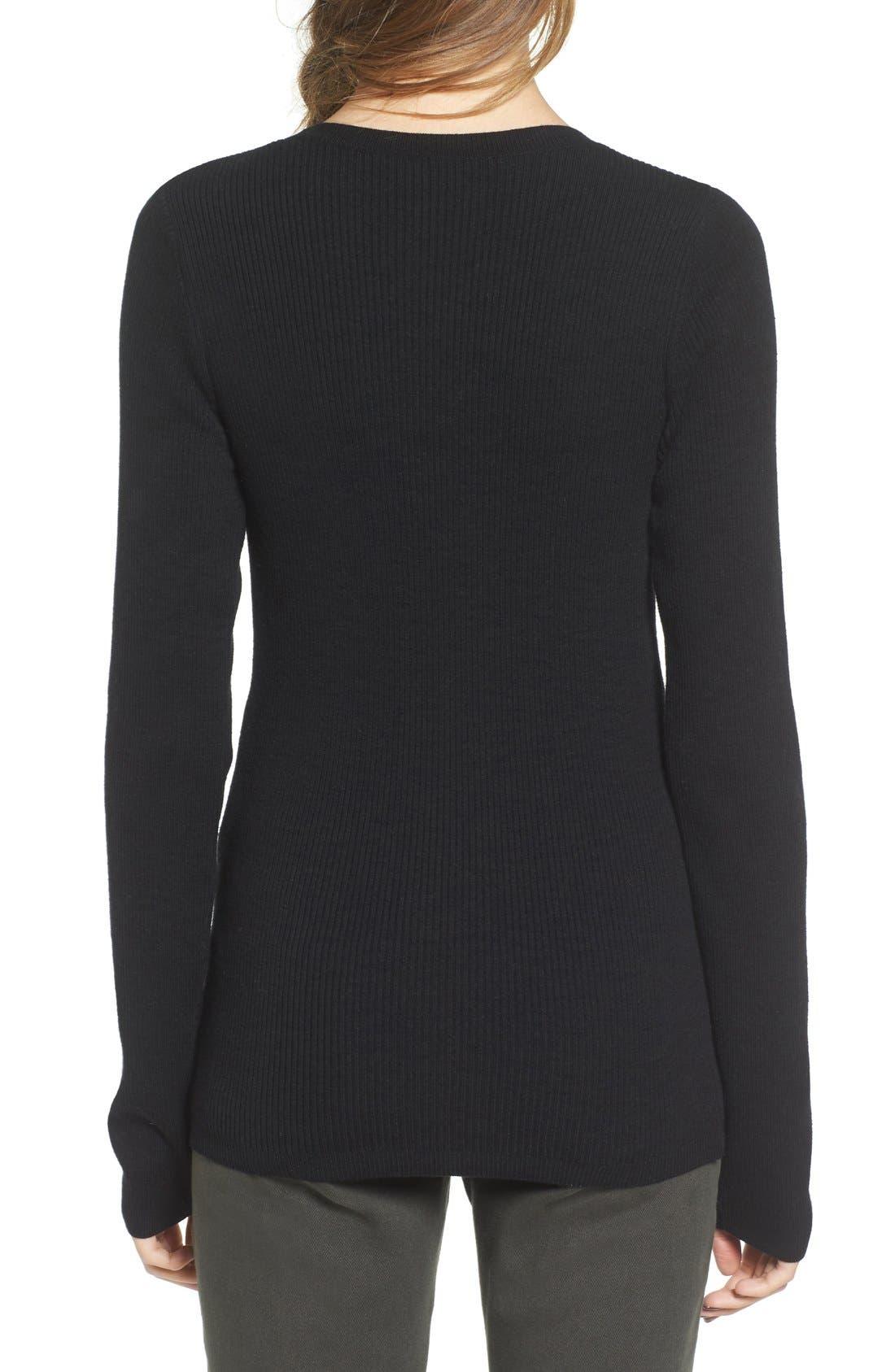 Rib Knit Pullover,                             Alternate thumbnail 2, color,                             Black