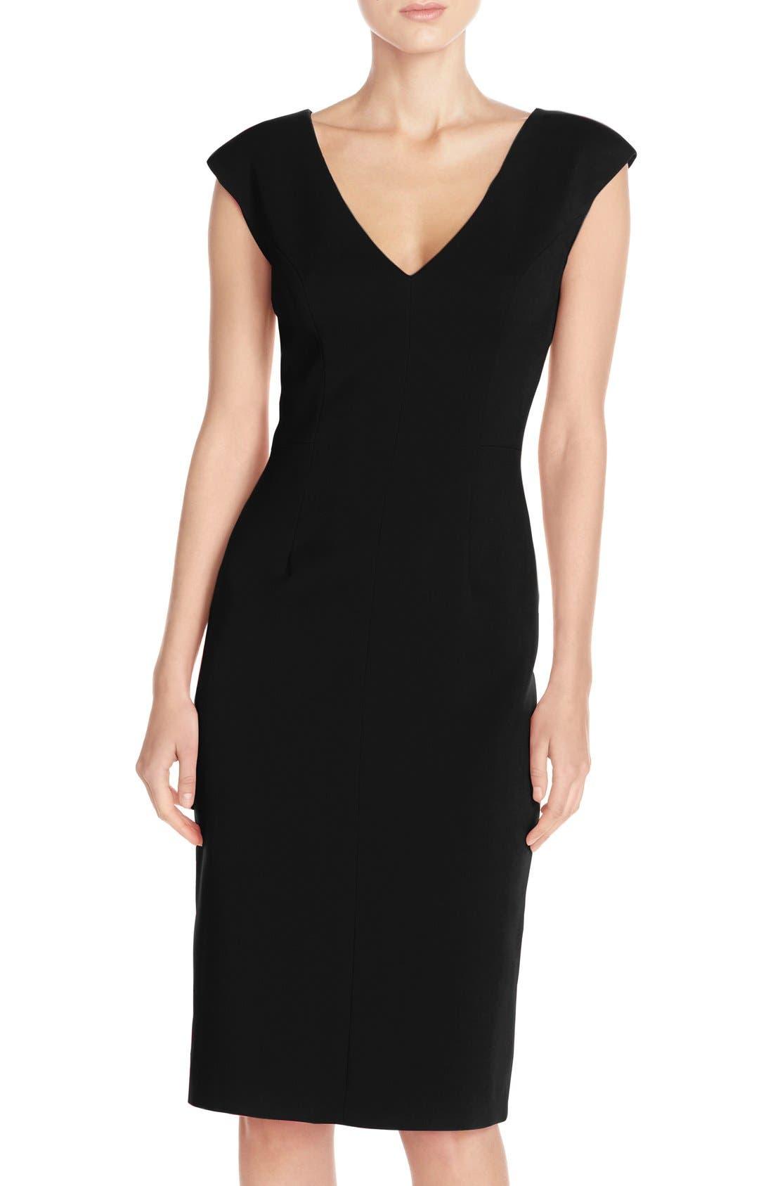 Crepe Sheath Dress,                             Main thumbnail 1, color,                             Black