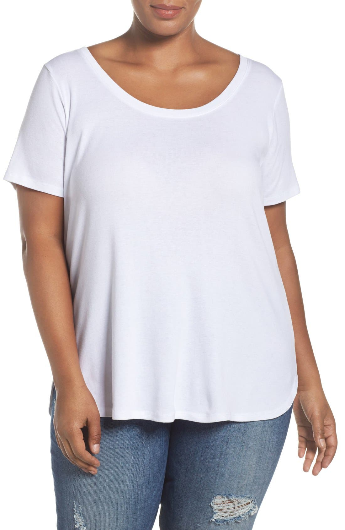 Sejour Scoop Neck Tee (Plus Size)