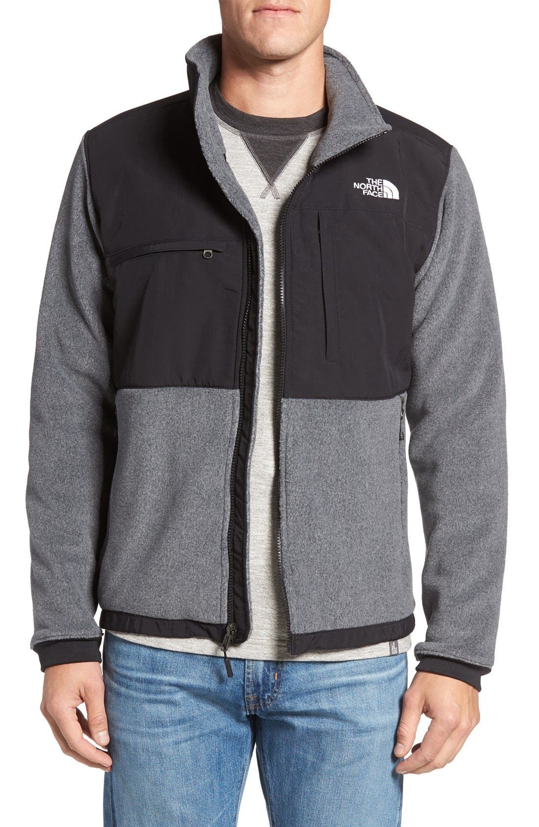 Denali 2 Recycled Fleece Jacket,                         Main,                         color, Charcoal Grey Heather/ Black