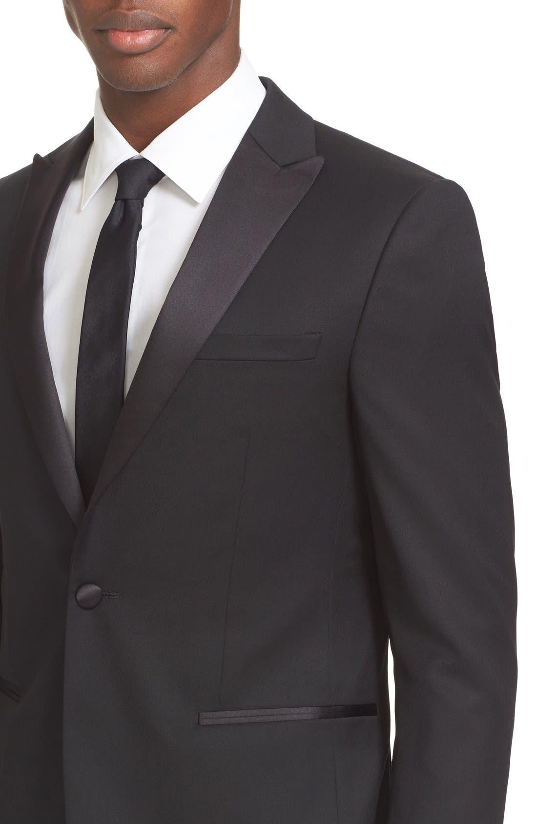 Trim Fit Wool & Mohair Tuxedo,                             Alternate thumbnail 4, color,                             Black