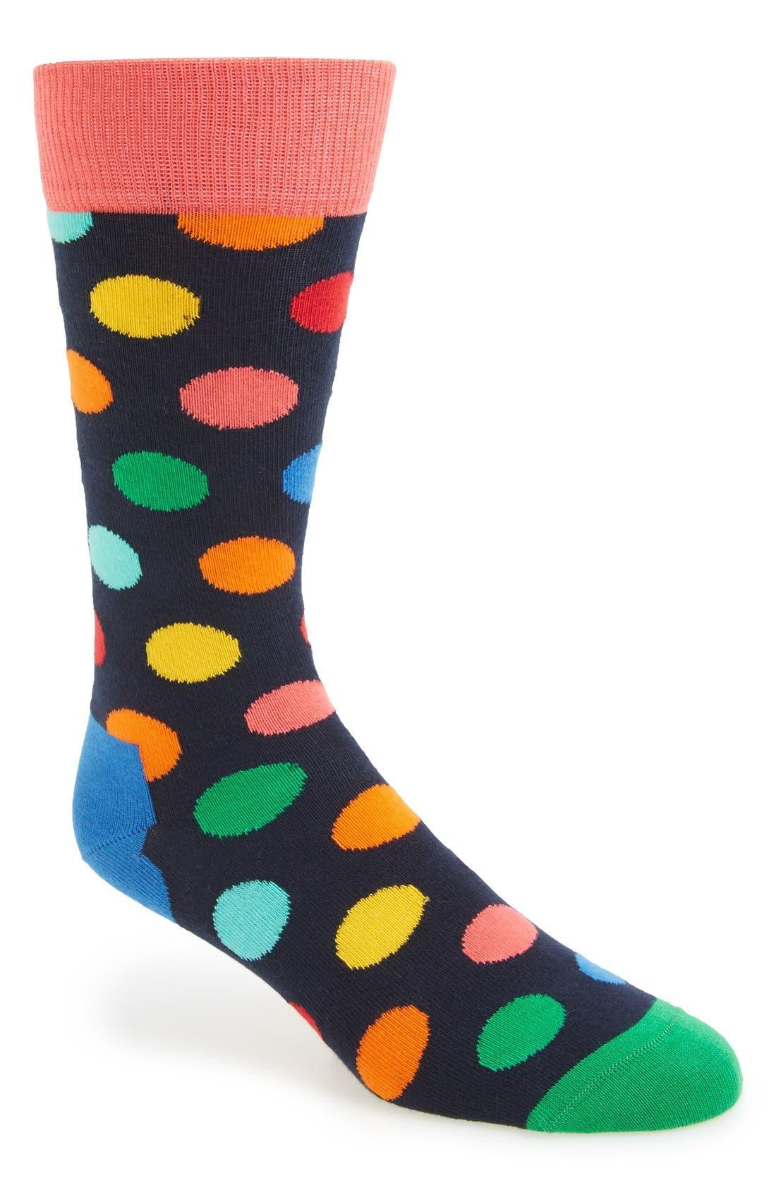 Polka Dot Cotton Blend Socks,                             Main thumbnail 1, color,                             Blue/ Bright Combo