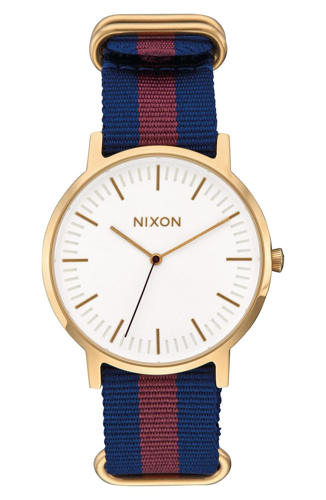 The Porter Nylon Strap Watch, 40mm,                             Main thumbnail 1, color,                             Red/ White/ Blue/ Gold