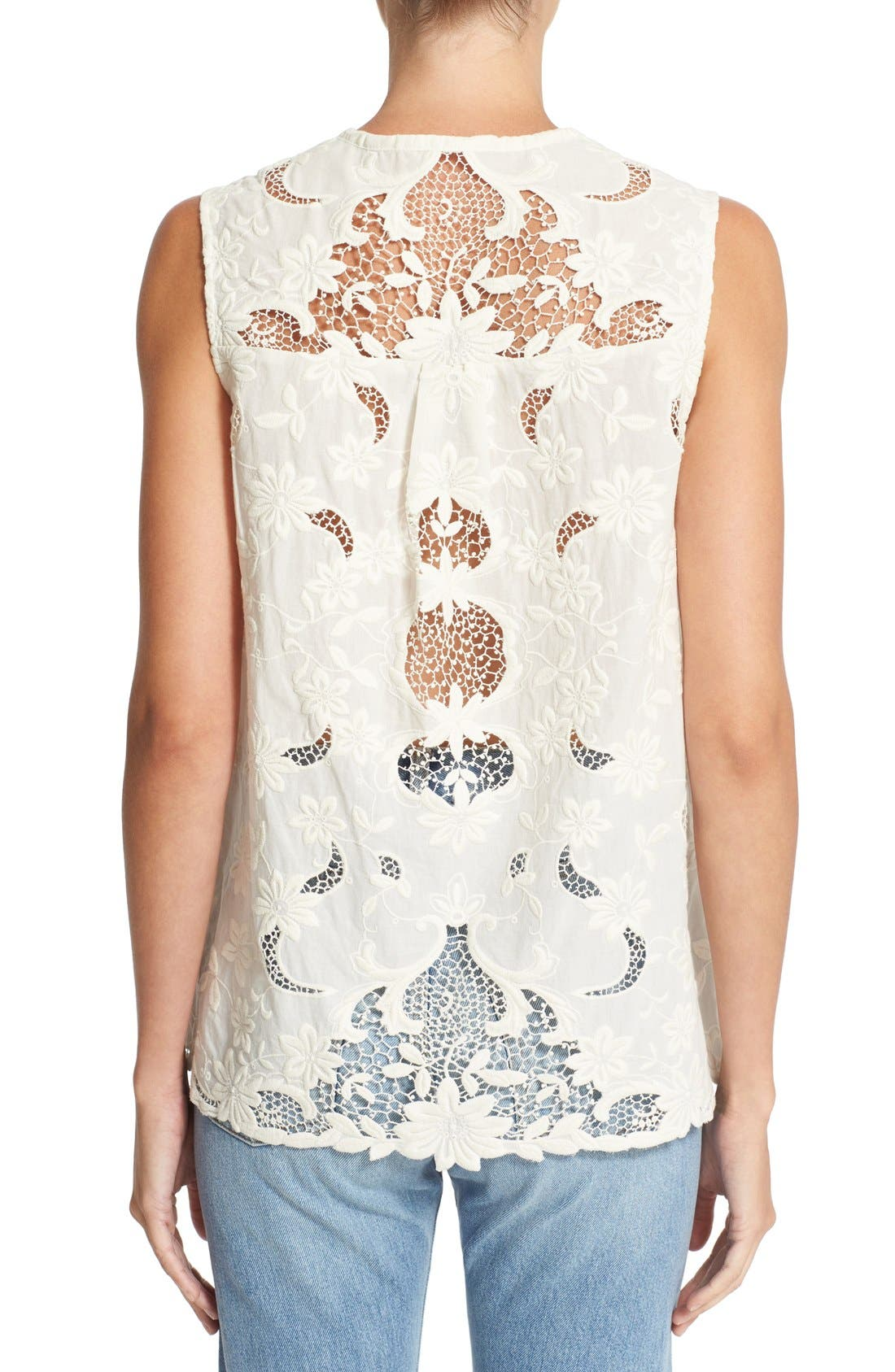 Alternate Image 2  - Sea Sleeveless Embroidered Top