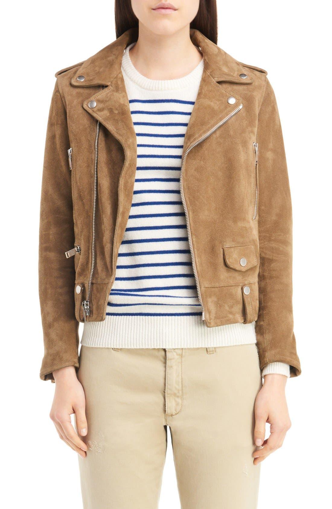 Main Image - Saint Laurent Fringe Suede Moto Jacket