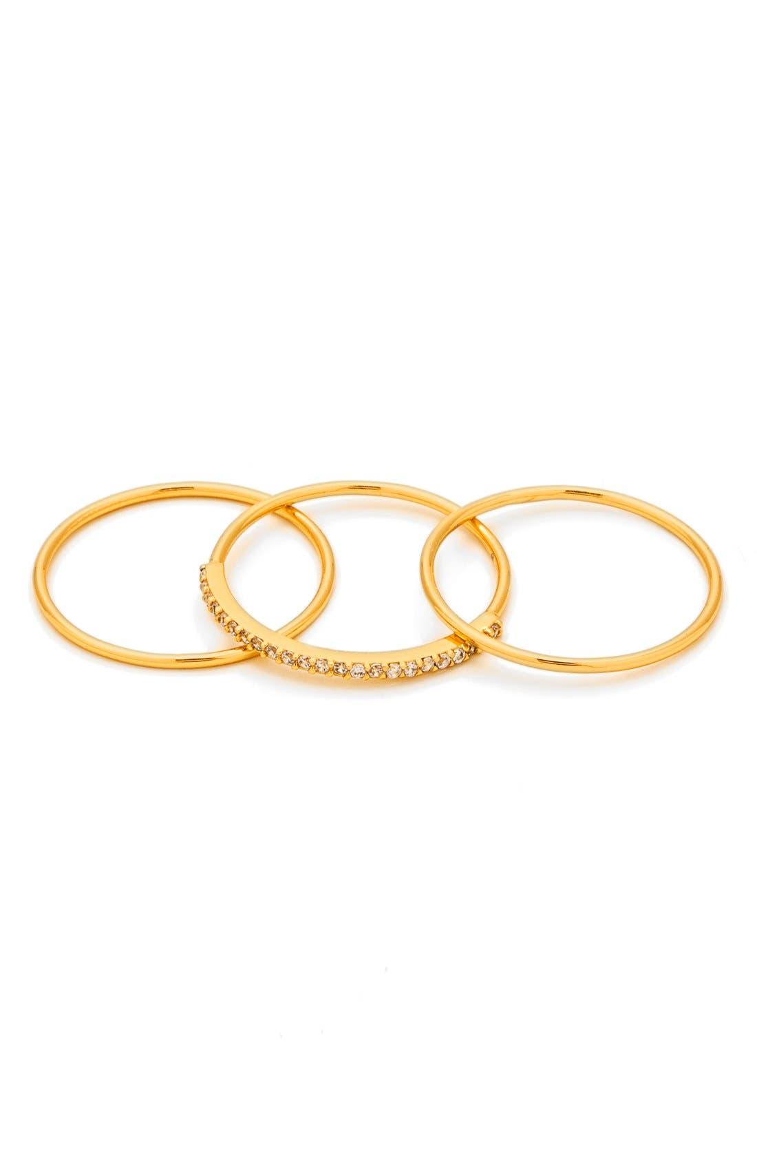 Shimmer Stackable Set of 3 Band Rings,                             Main thumbnail 1, color,                             Gold