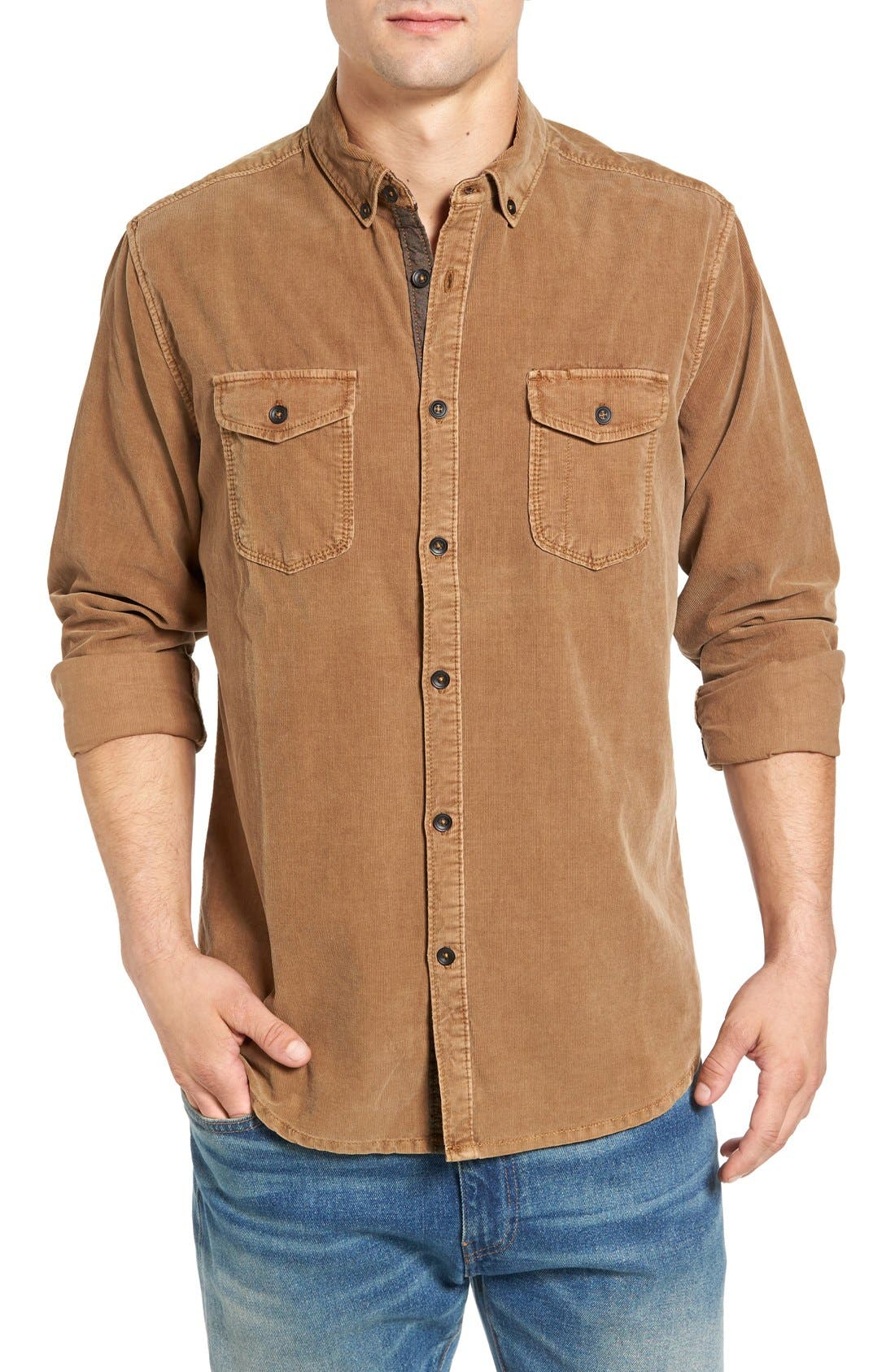 'Jaymes' Pigment Dyed Corduroy Shirt,                         Main,                         color, Rosewood