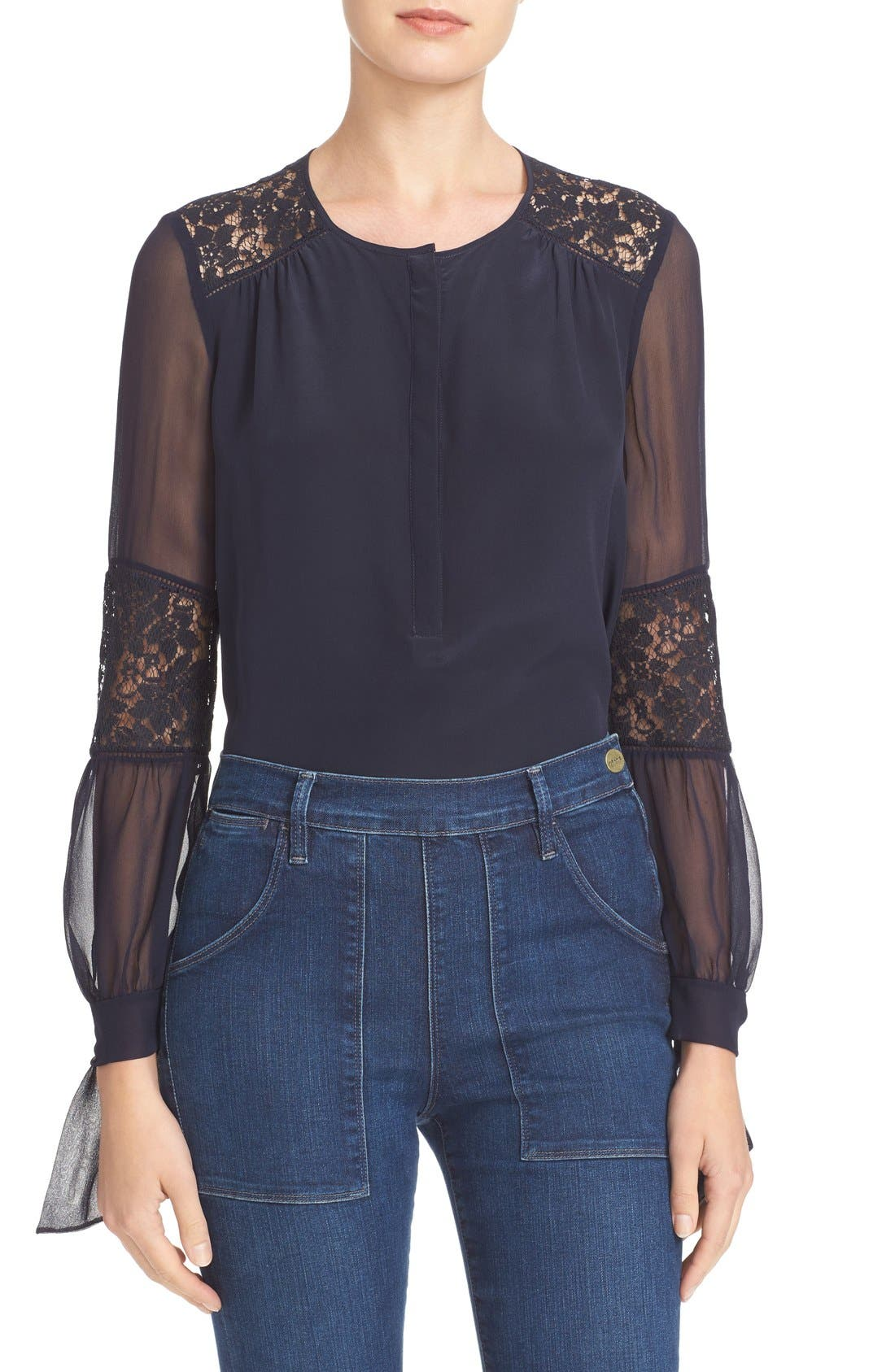 'Sarah' Silk Blouse,                         Main,                         color, Navy