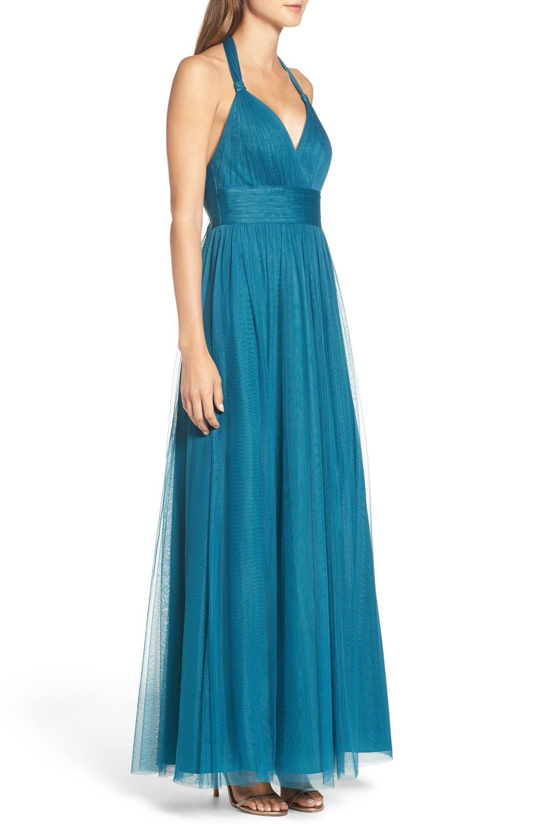 Deep V-Neck Chiffon & Tulle Gown,                             Alternate thumbnail 3, color,                             Teal