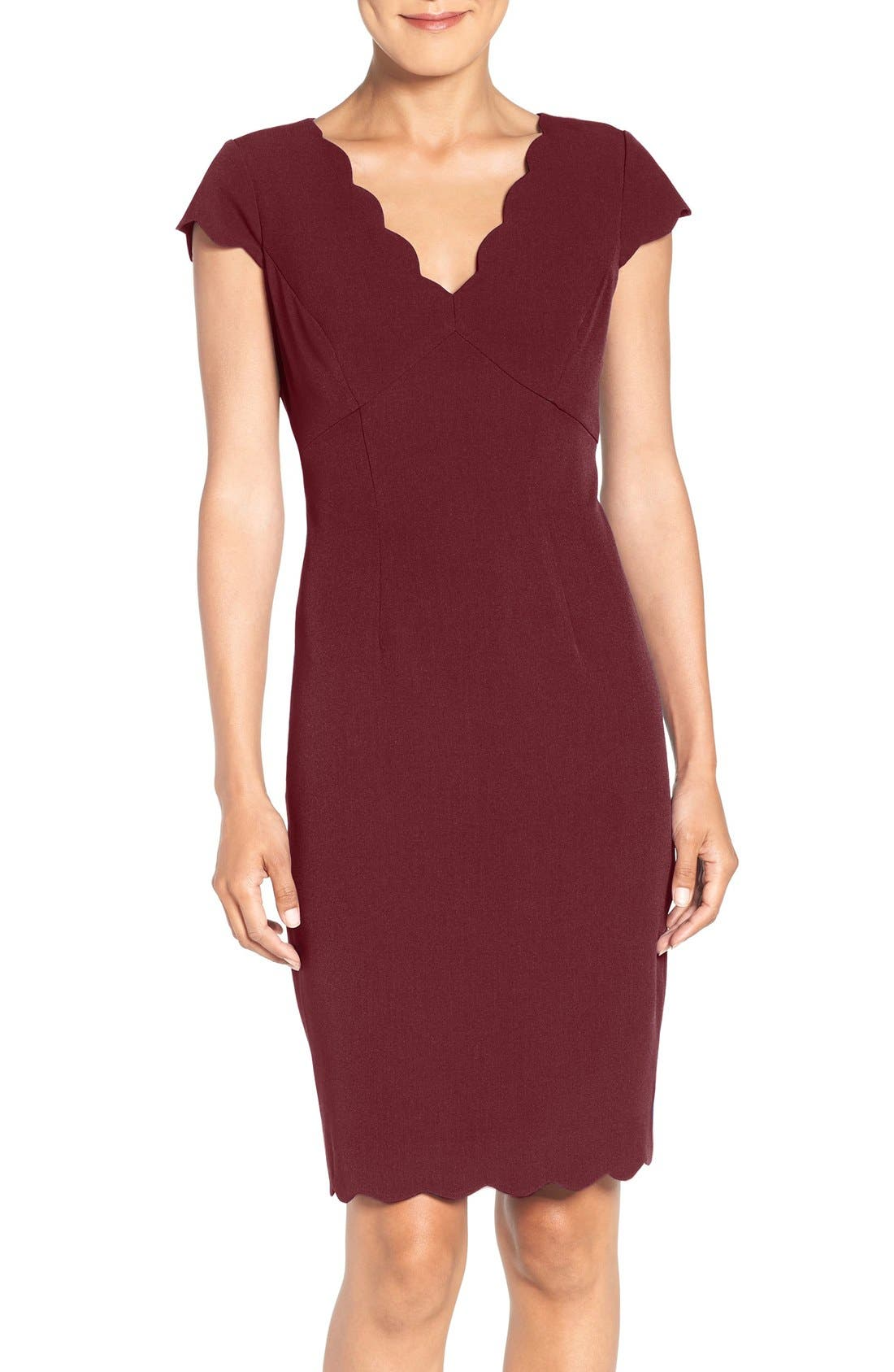 Adrianna Papell Scalloped Crepe Sheath Dress (Regular & Petite)