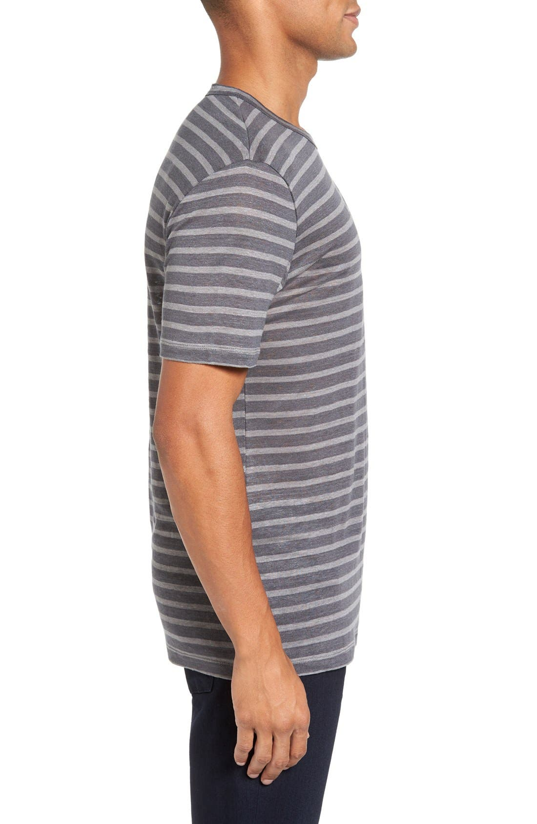 Alternate Image 3  - Slate & Stone Stripe Linen T-Shirt