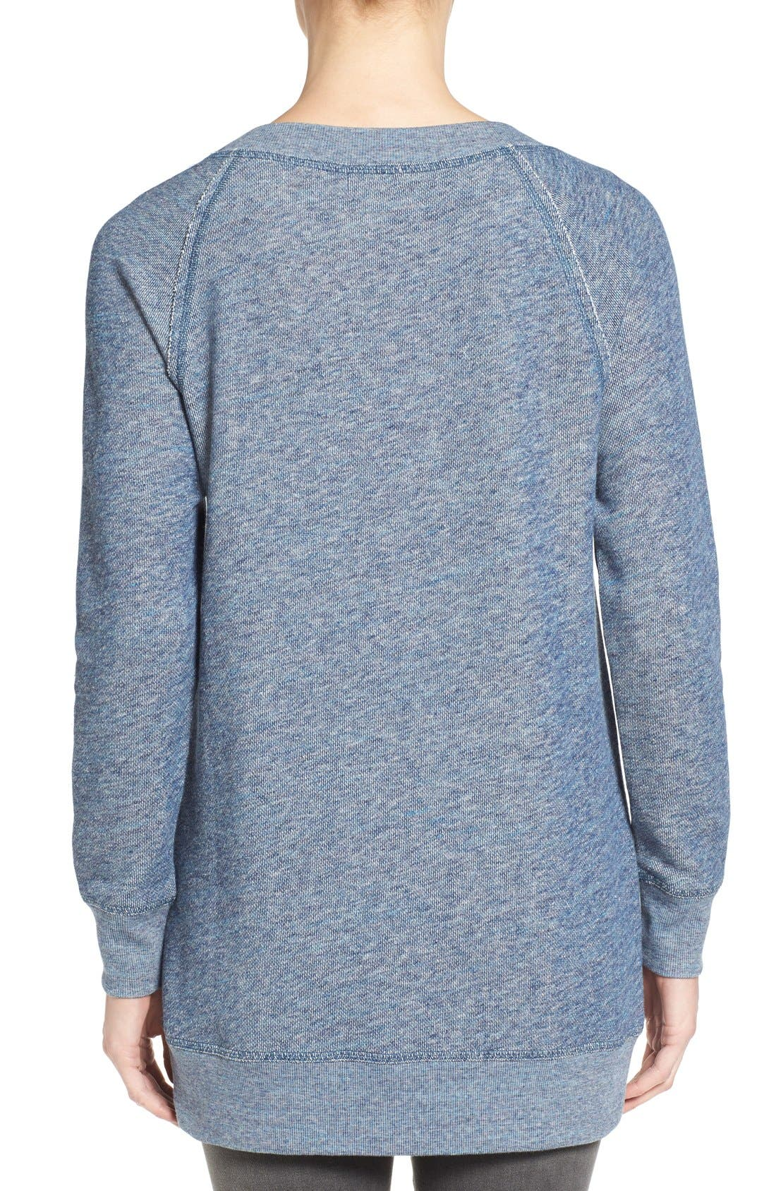 Alternate Image 2  - Caslon® Space Dye Tunic Sweatshirt (Regular & Petite)