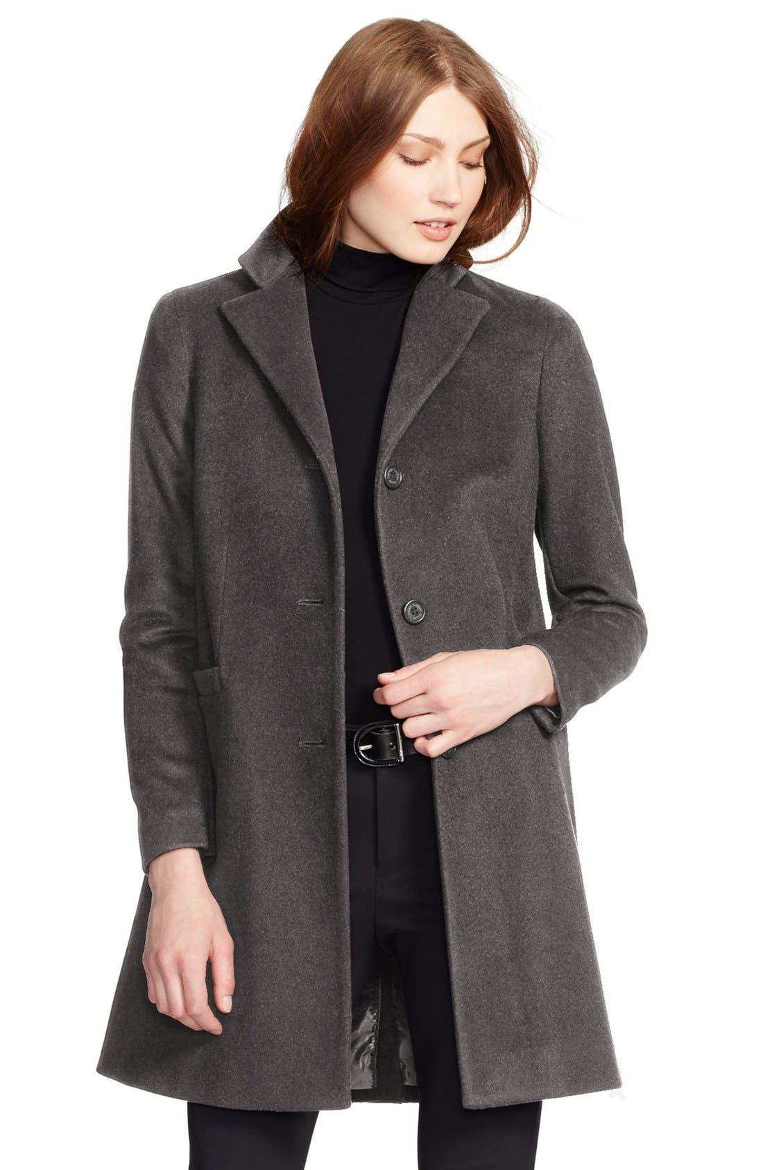 Alternate Image 1 Selected - Lauren Ralph Lauren Wool Blend Reefer Coat (Regular & Petite)