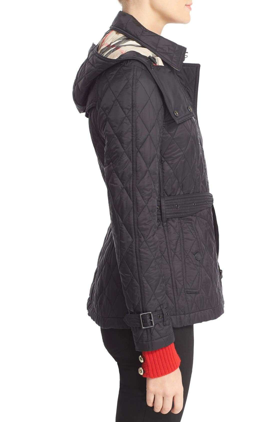 Finsbridge Short Quilted Jacket,                             Alternate thumbnail 5, color,                             Black