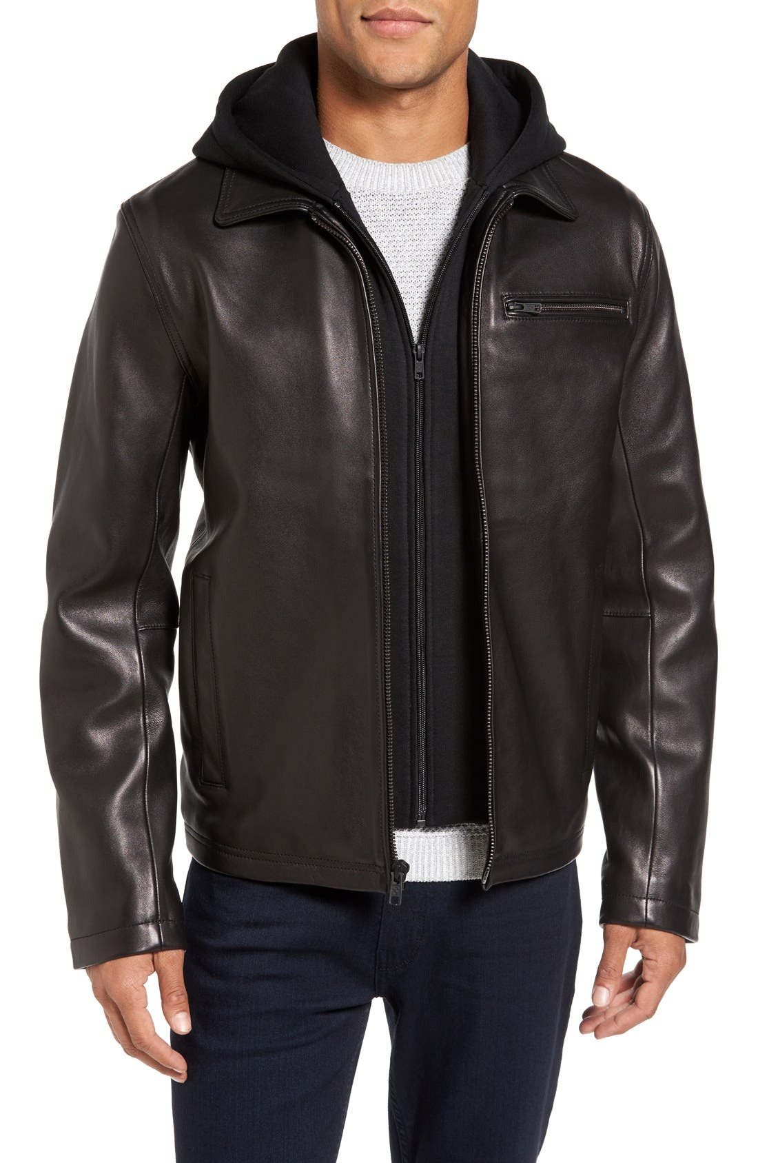 Leather Jacket with Removable Hooded Bib,                         Main,                         color, Black